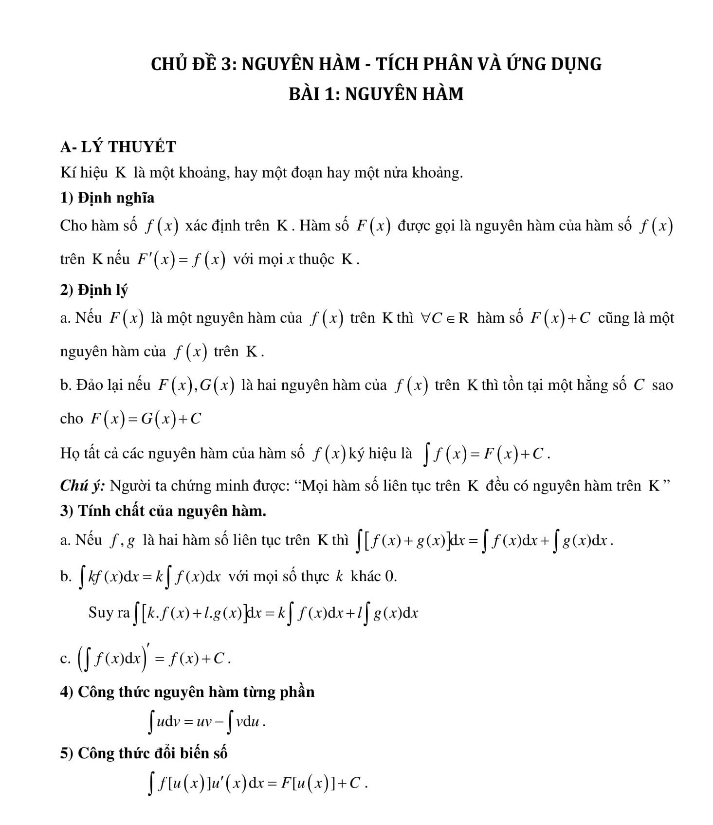 Chuyên đề 3: Tích phân bài tập có lời giải - Toán Đại số 12