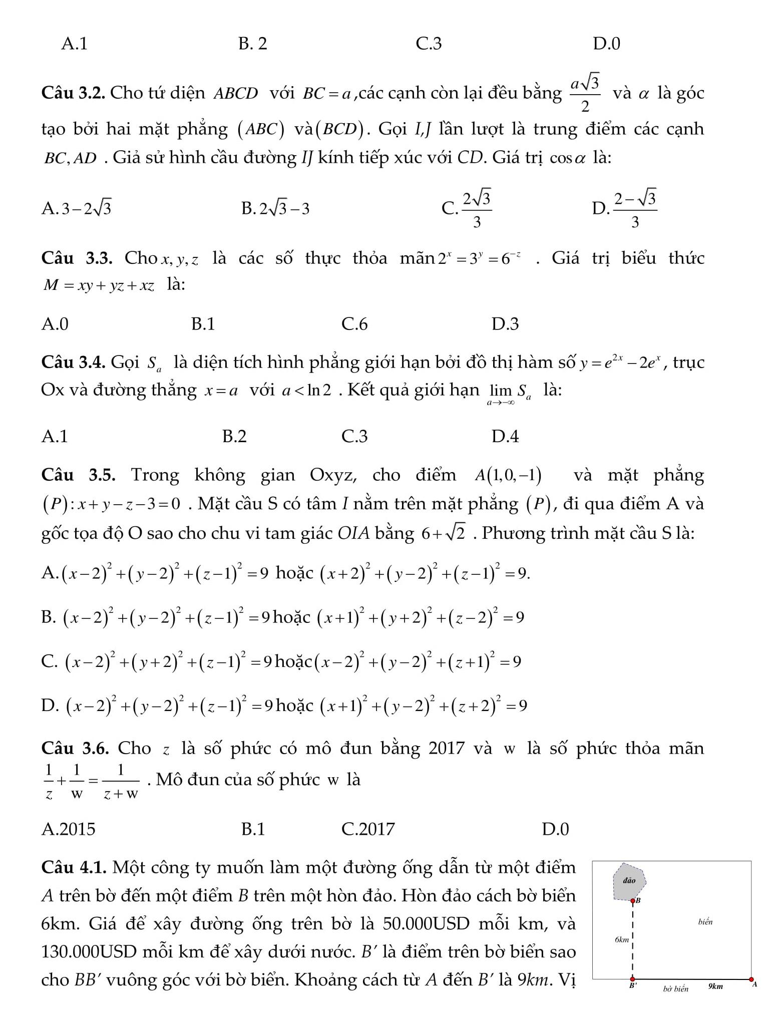 250 Bài tập Toán 12 được tổng hợp cả năm