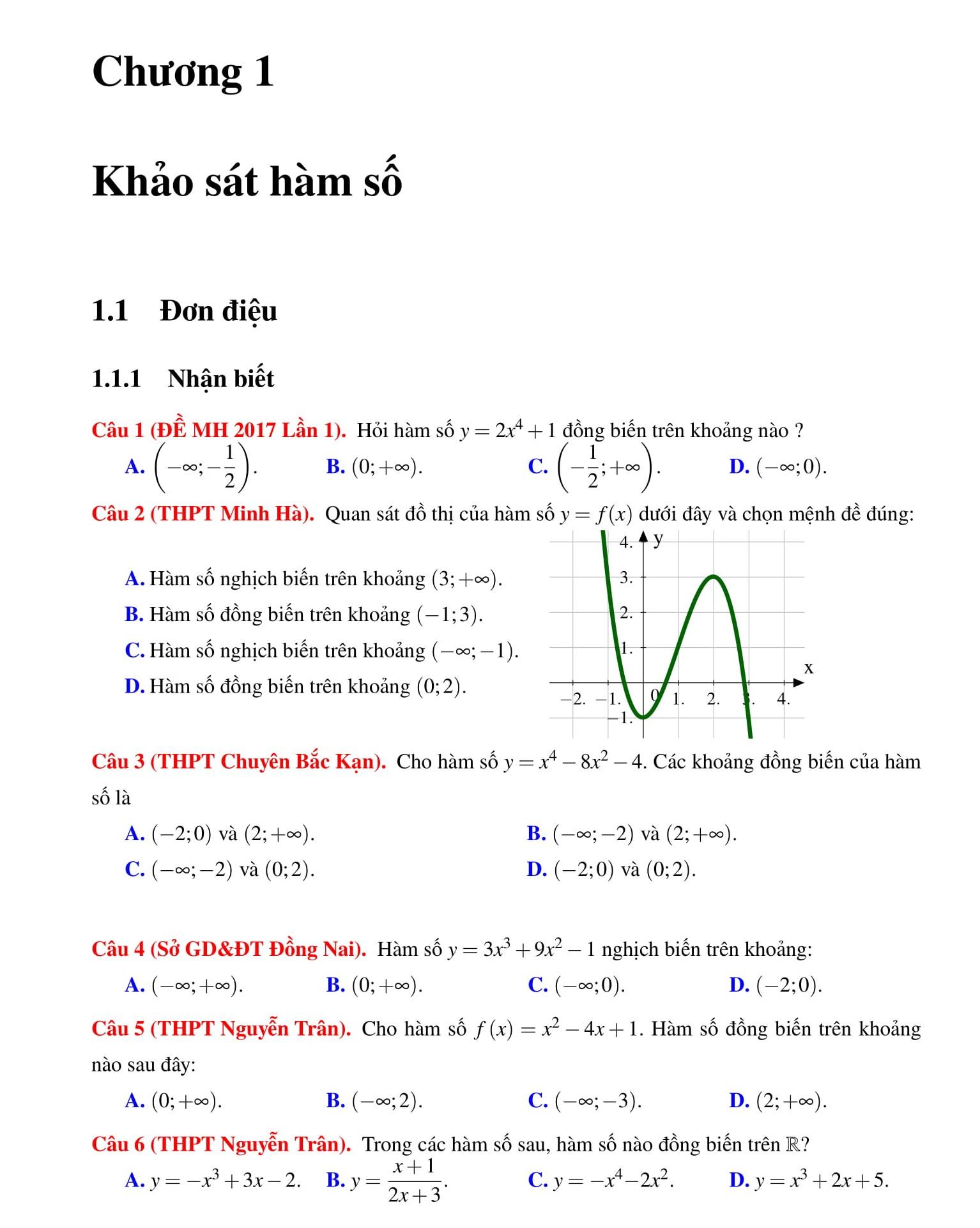 Đề cương HK1 Toán Đại số 12 bài tập có lời giải