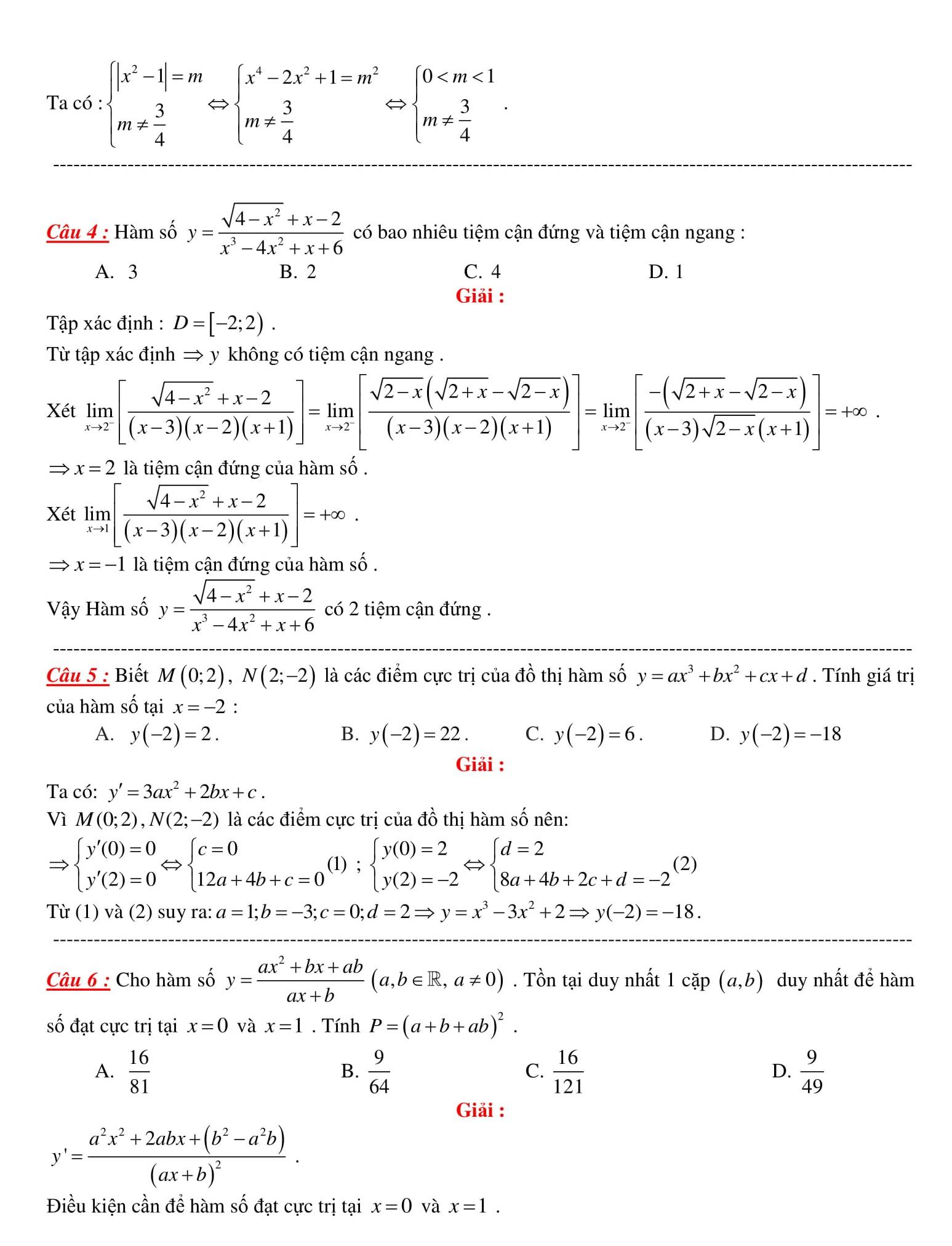 Tổng hợp bài tập trắc nghiệm Đại số Toán 12