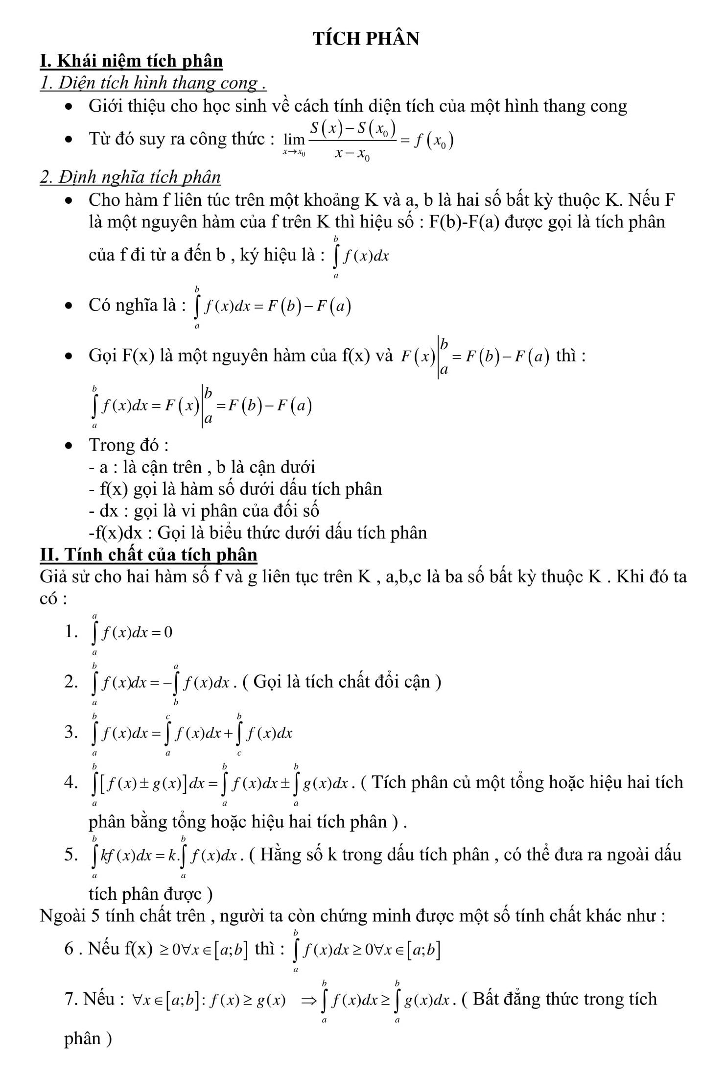 Phân dạng các bài toán tích phân - Toán 12 chương 3