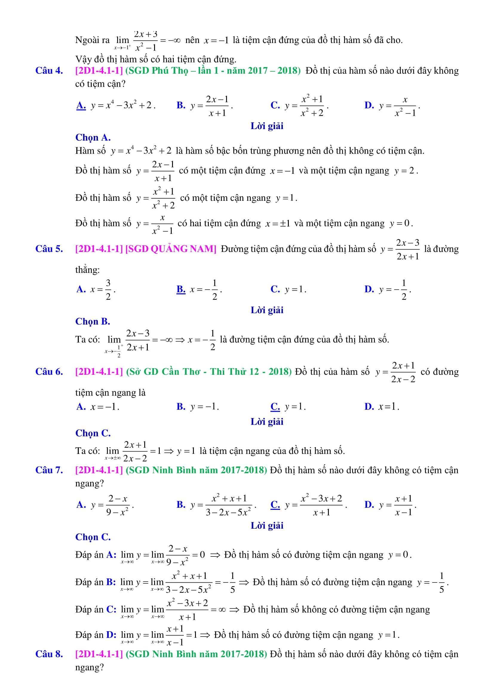 Chuyên đề Đường tiệm cận phân tích hướng dẫn đầy đủ - Toán 12