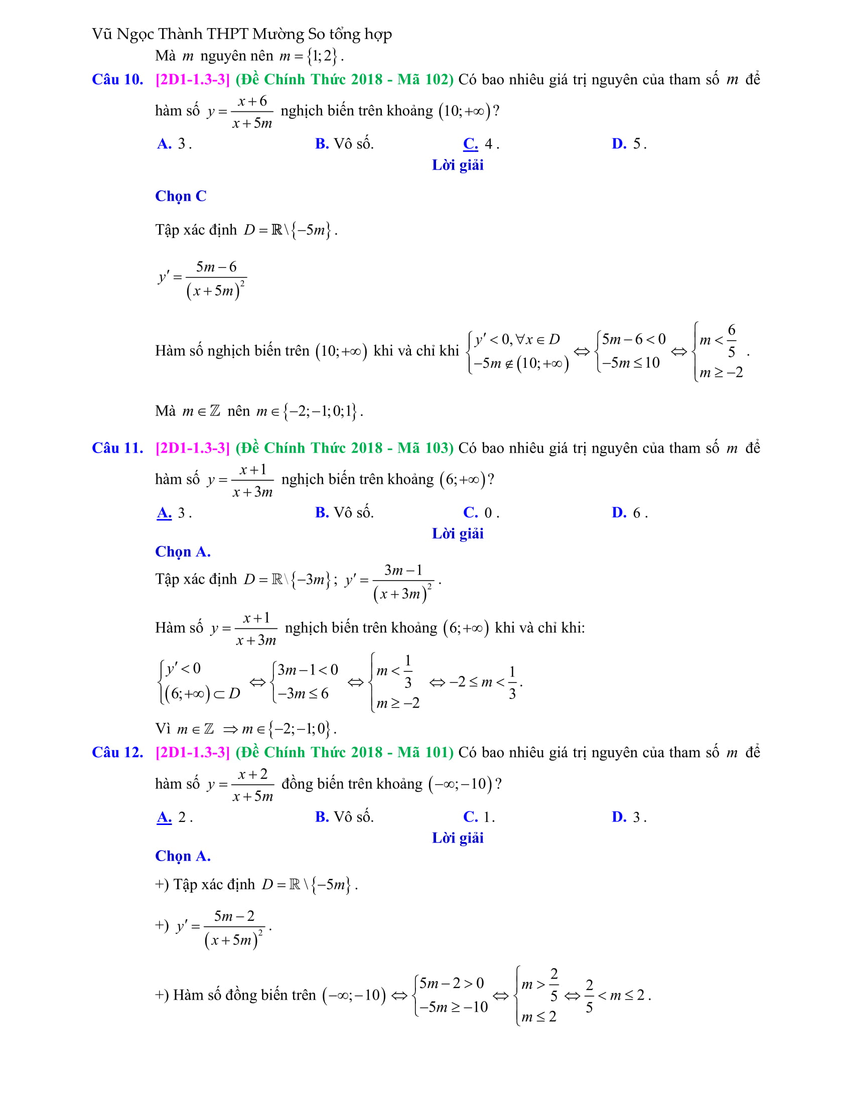 Khảo sát tính đồng biến và nghịch biến của đồ thị hàm số