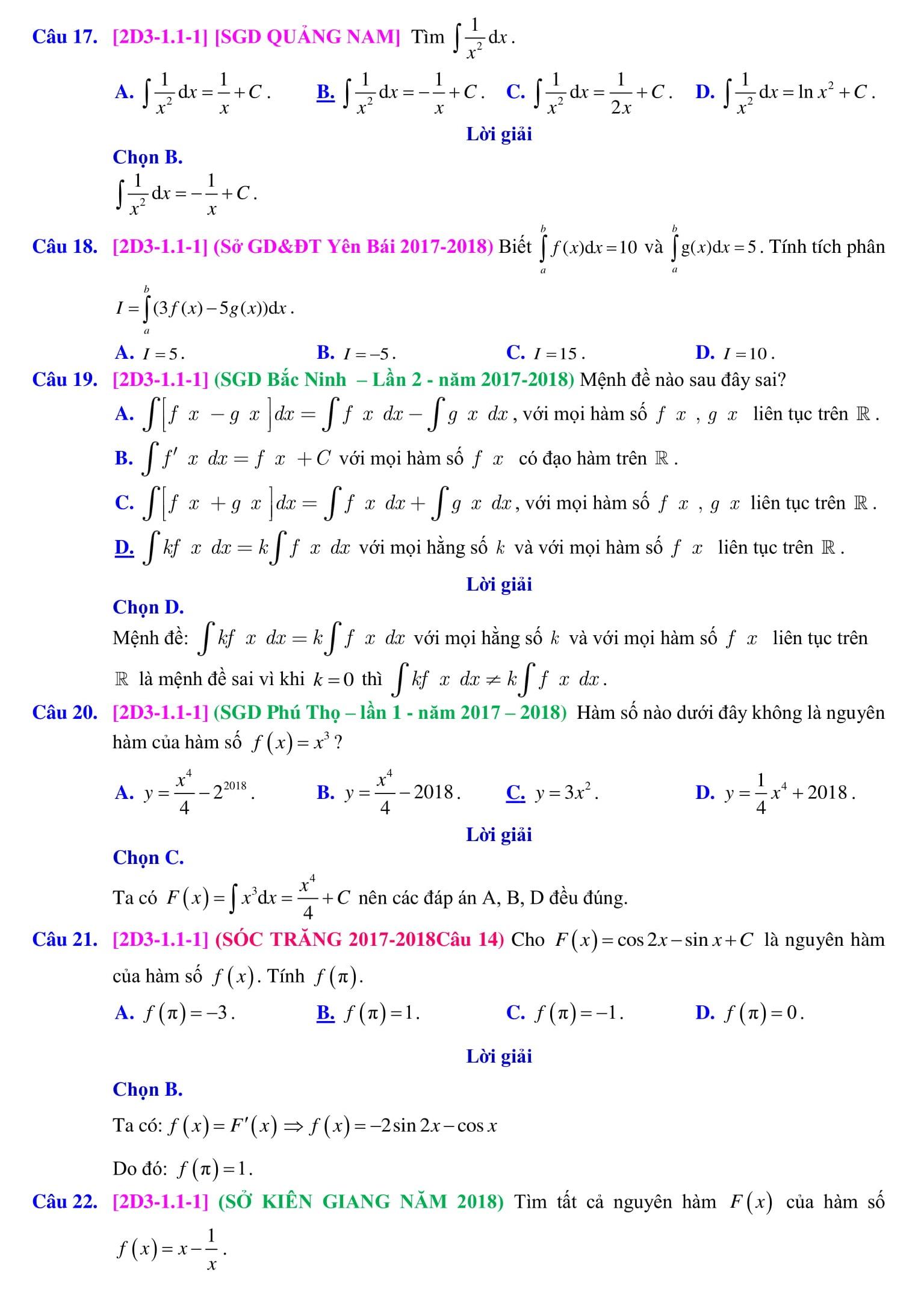 Nguyên hàm và tích phân bài tập trong đề thi - Toán 12