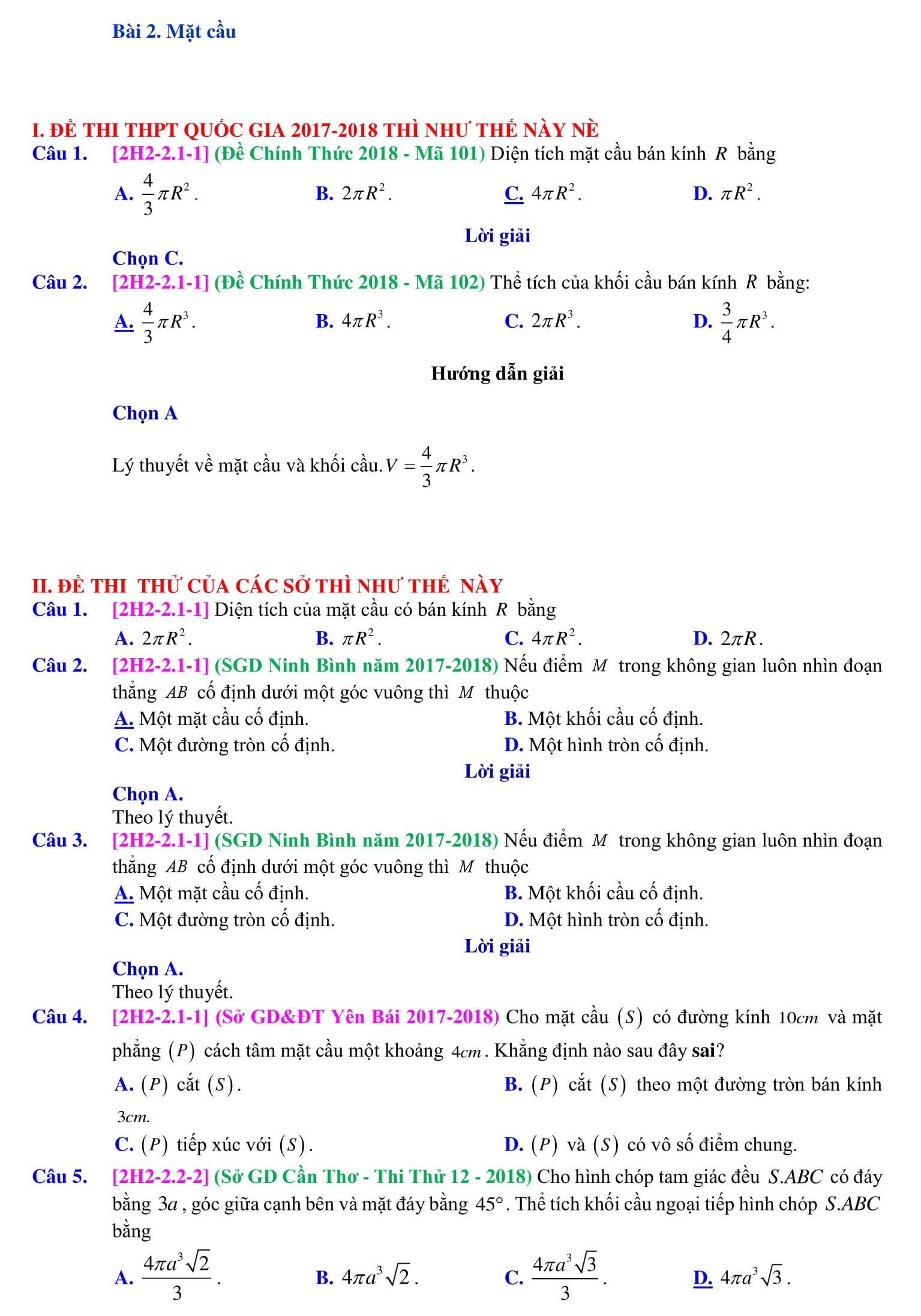Chuyên đề Mặt cầu và những bài tập - Toán 12