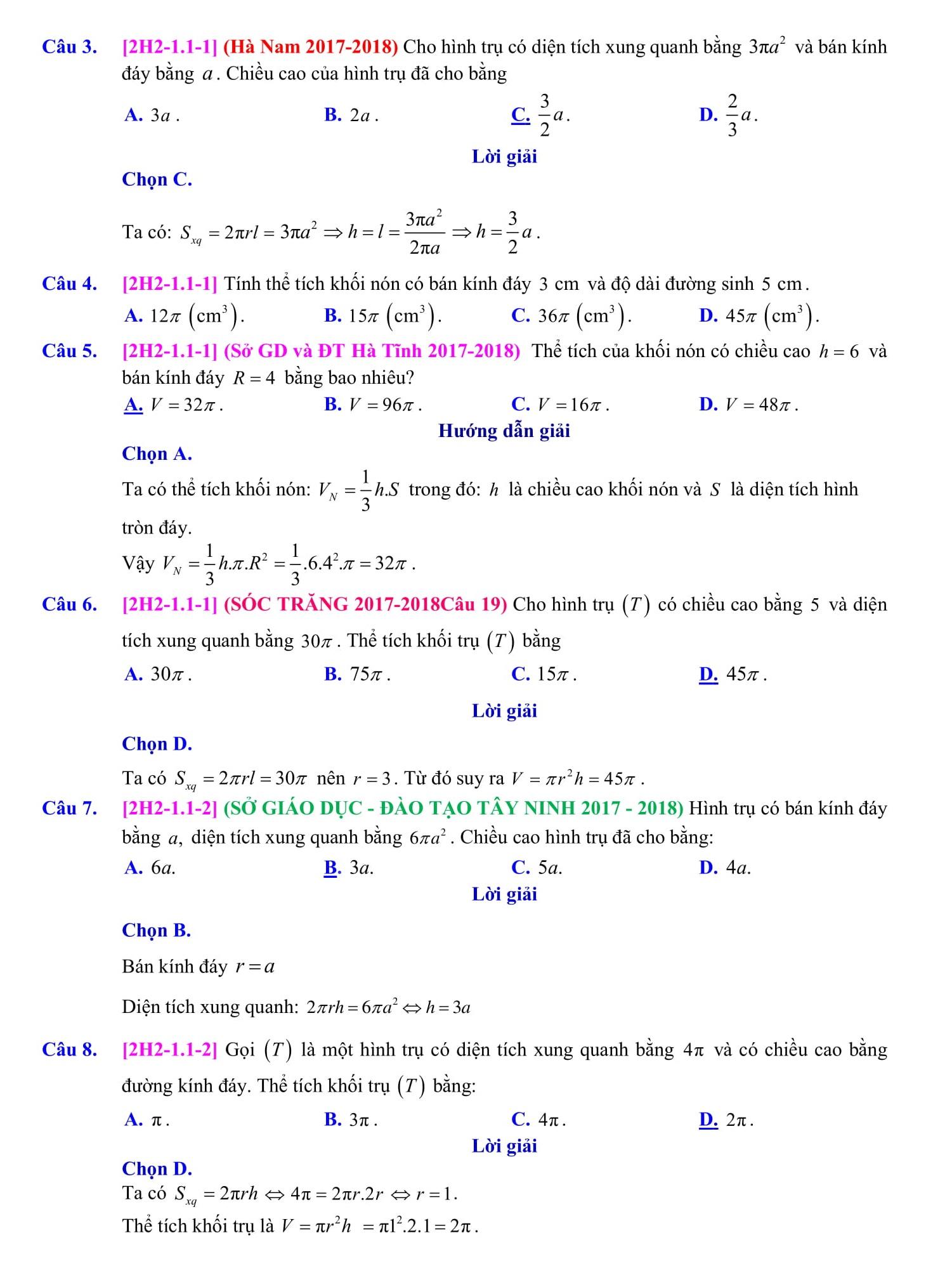Mặt tròn xoay và mặt cầu (bài tập + lời giải) - Toán hình 12