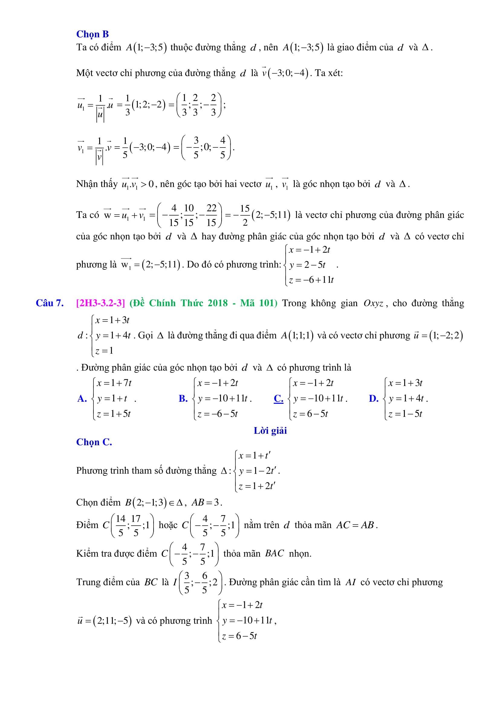 Phương trình đường thẳng trong không gian - Toán hình 12
