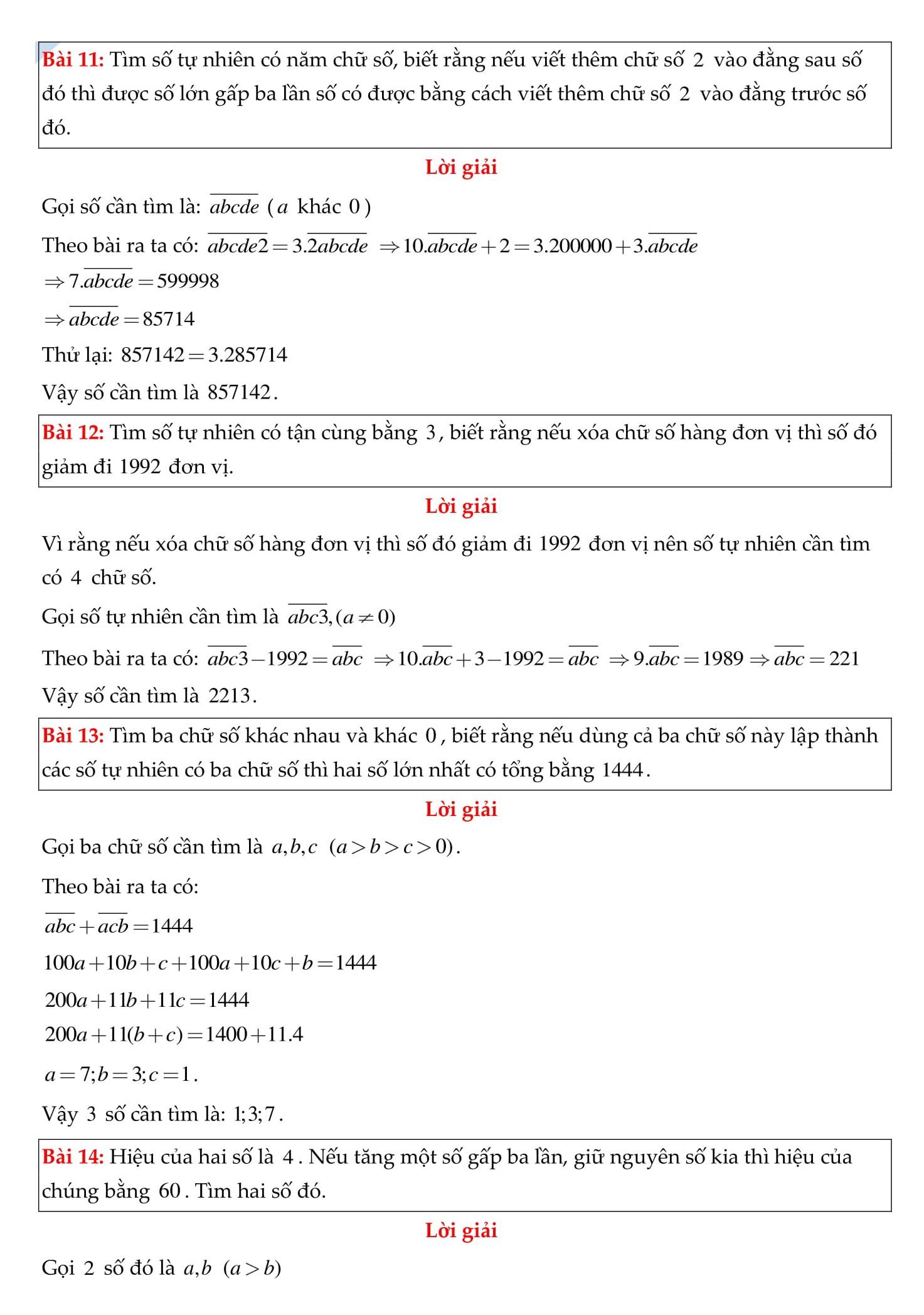 Chuyên đề 1: Tập hợp số tự nhiên - Toán 6