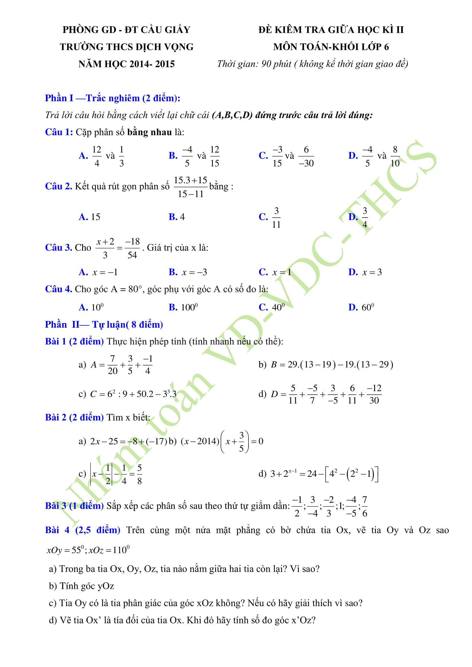 Tổng hợp 30 đề thi giữa HK2 toán 6
