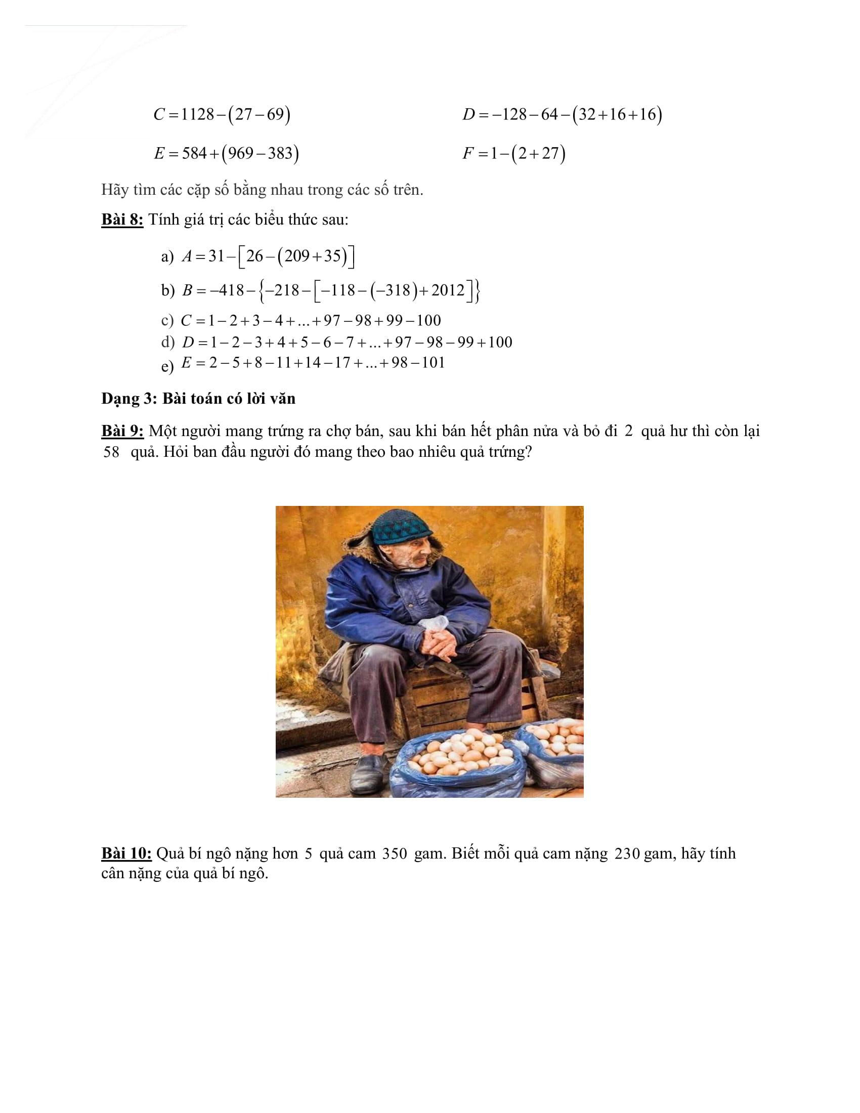 Phiếu bài tập Đại số Toán 6 HK2 tuần 10 đến tuần 17