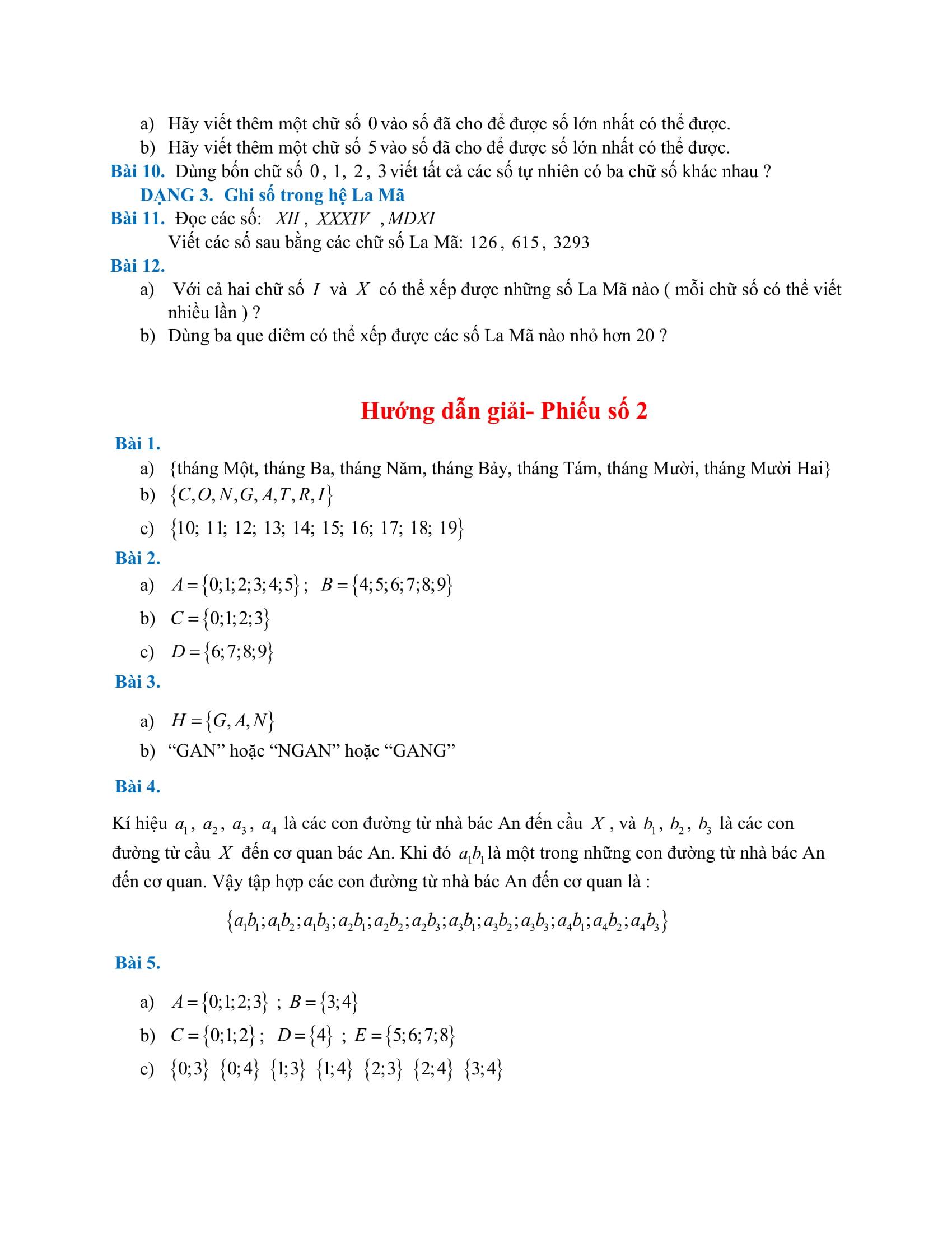 Phiếu bài tập Đại số HK1 Toán 6 - Tuần 1 đến tuần 9