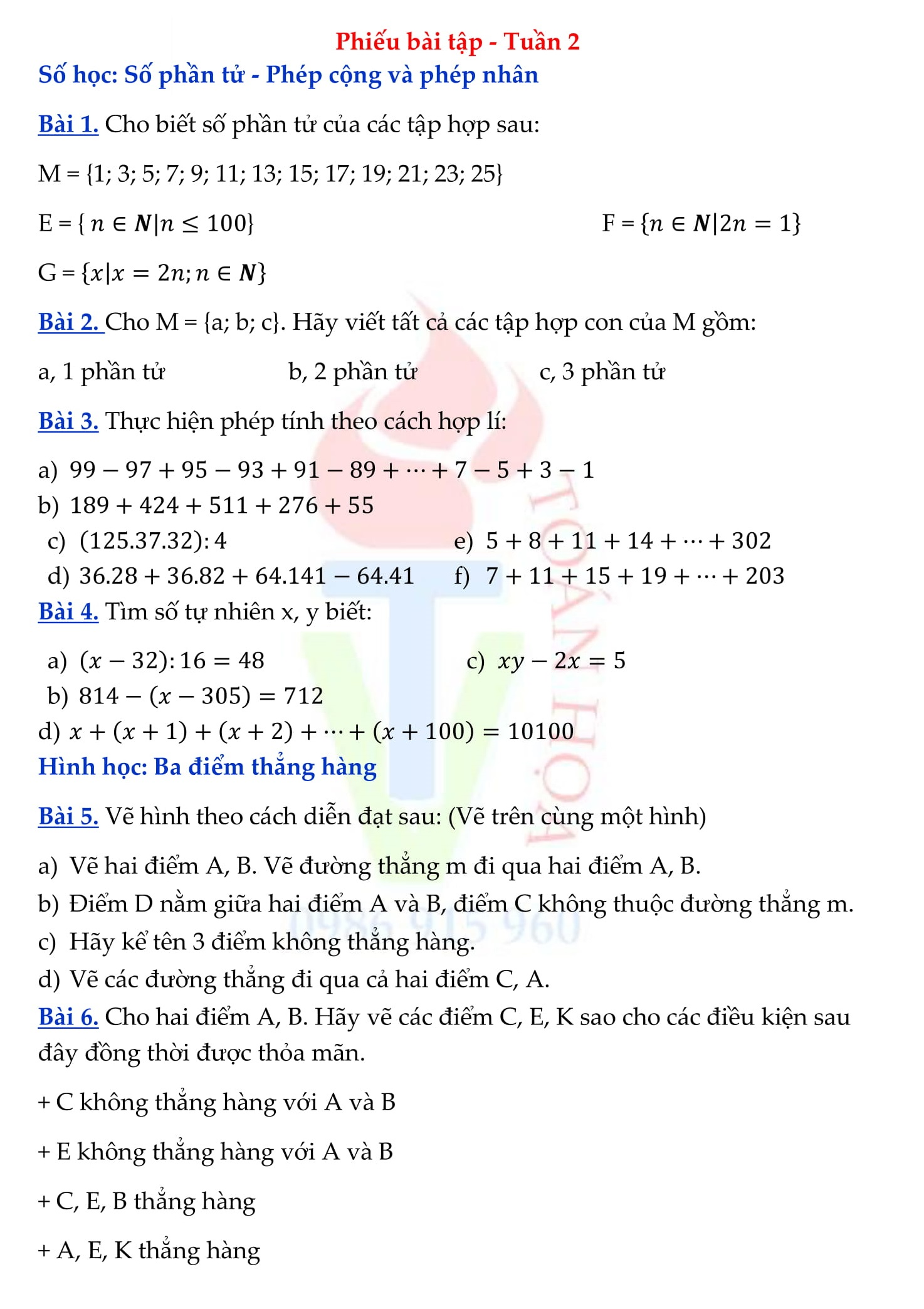 Phiếu bài tập Toán 6 được tổng hợp cho HK1 và HK2