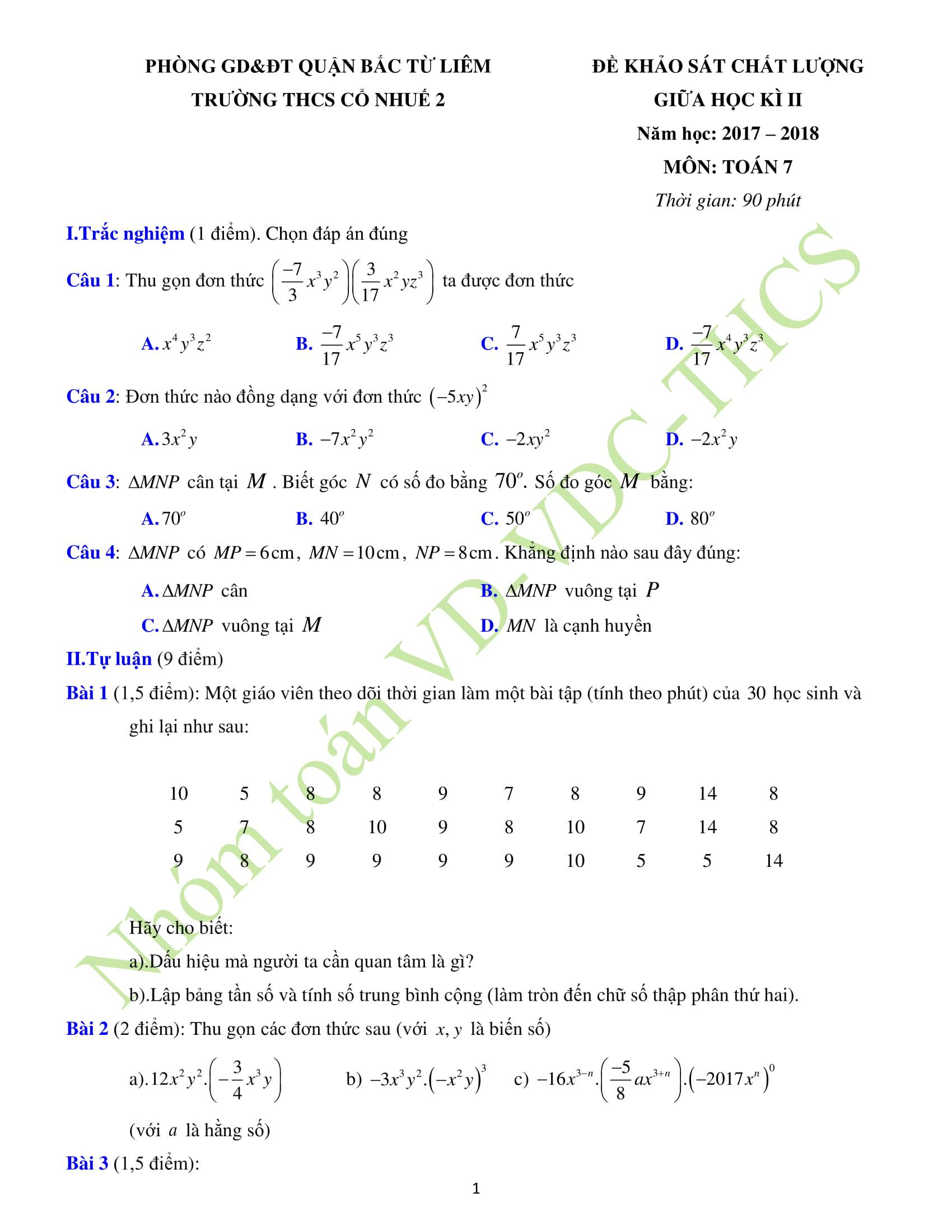 Tổng hợp 30 Đề kiểm tra giữa HK2 môn Toán 7
