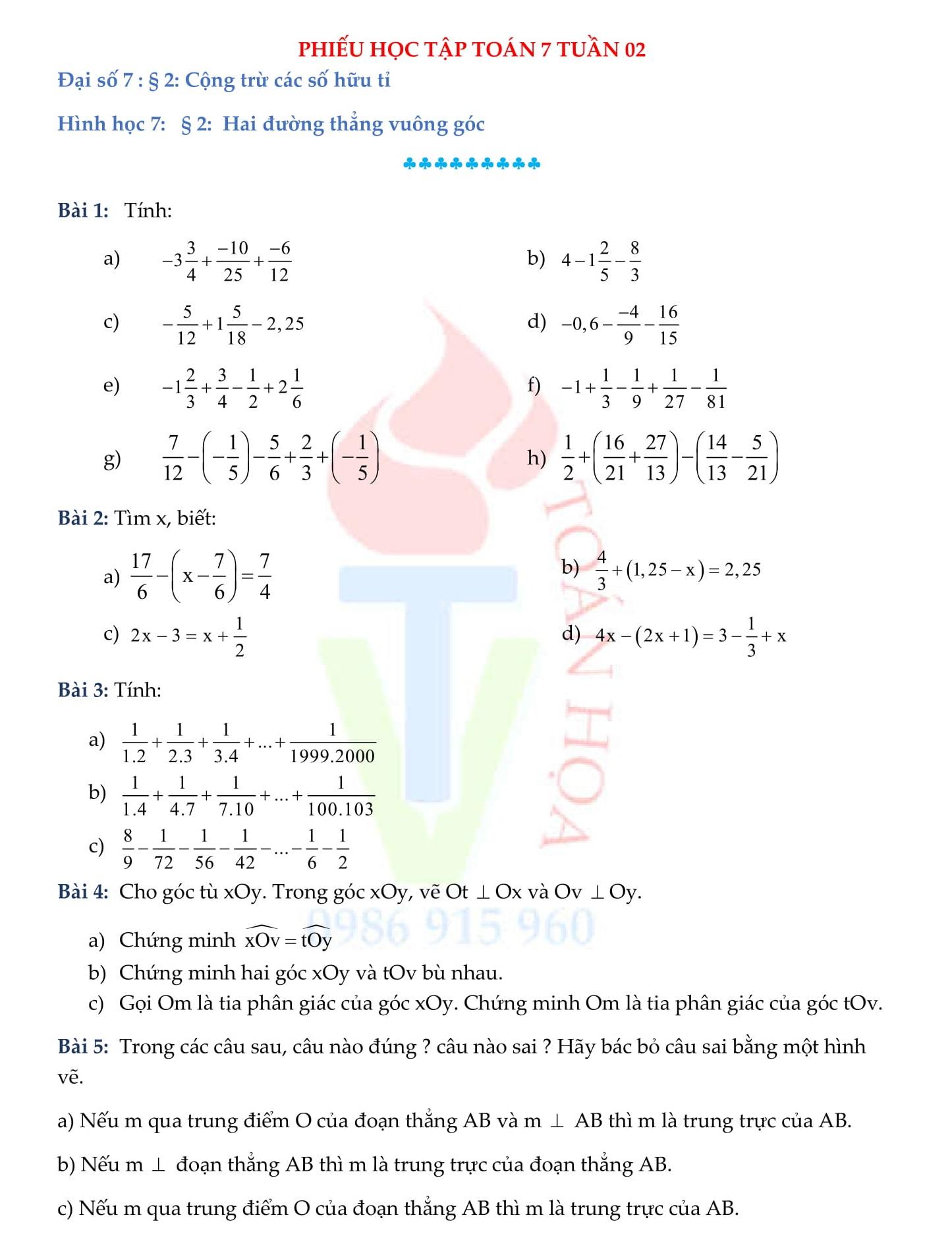Phiếu bài tập Toán 7 (hình học và đại số)