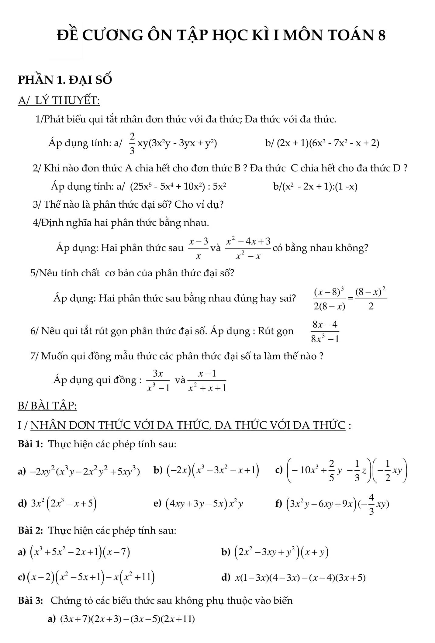 Đề cương HK1 toán 8 bài tập có lời giải