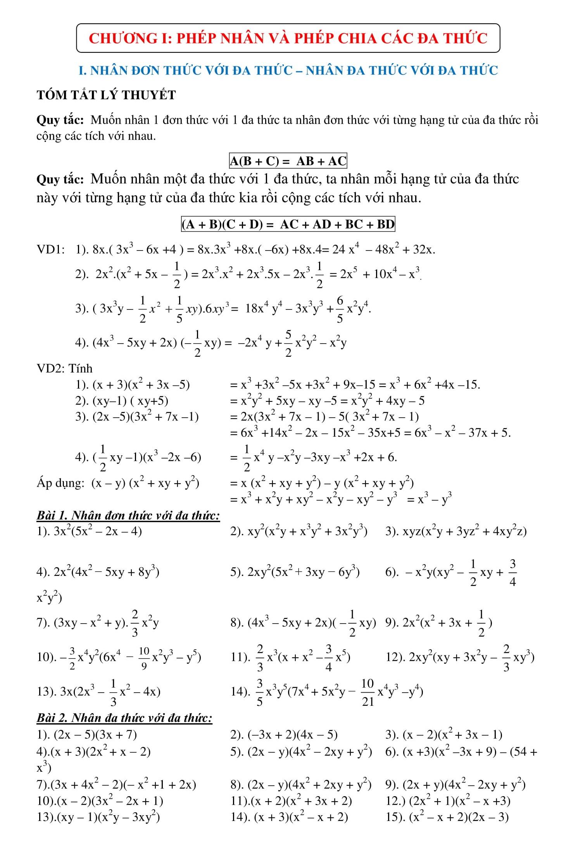 Đề cương tổng hợp các bài tập HK1 toán 8