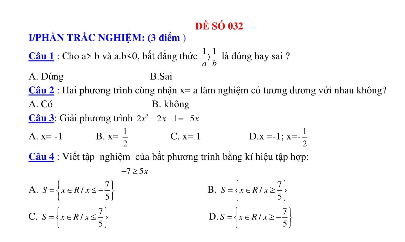 27 Đề thi HK2 Toán 8 có đáp án