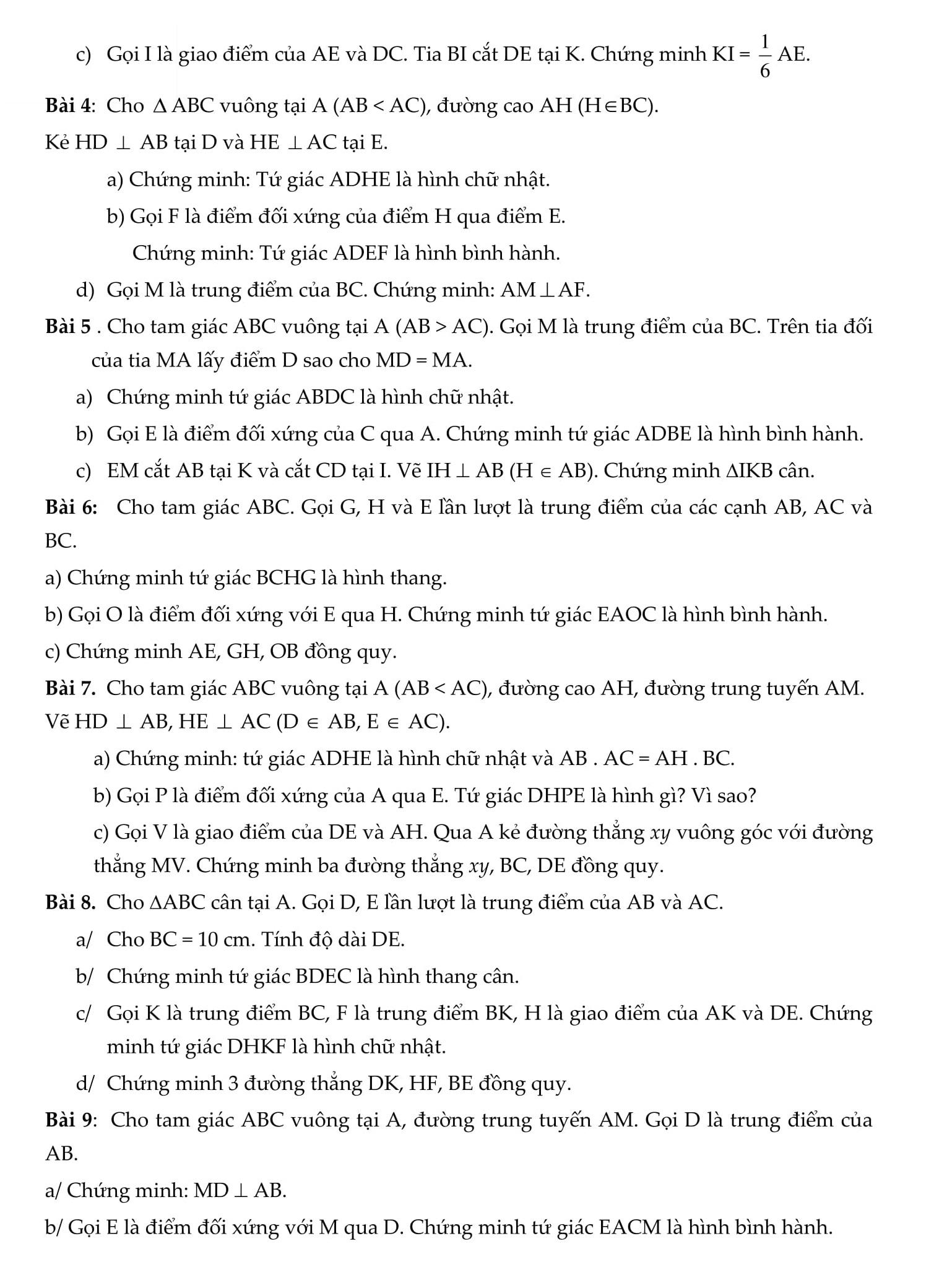 Đề cương HK1 toán 8 bài tập có hướng dẫn giải