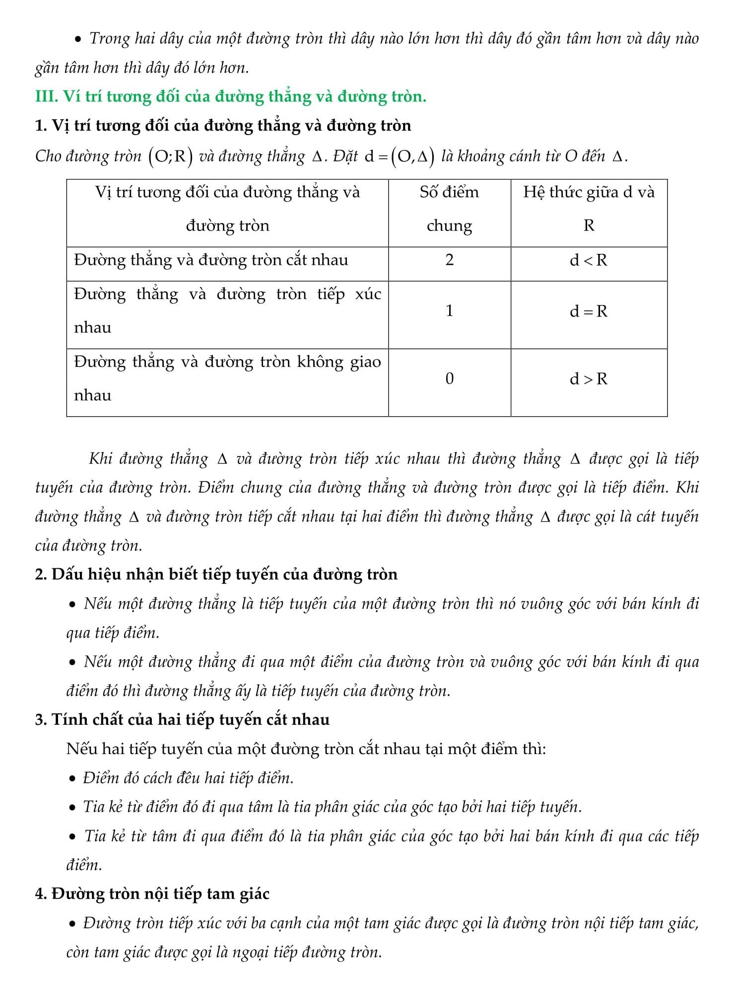 Chuyên đề 3 Đường tròn và những bài tập - Toán Hình 9