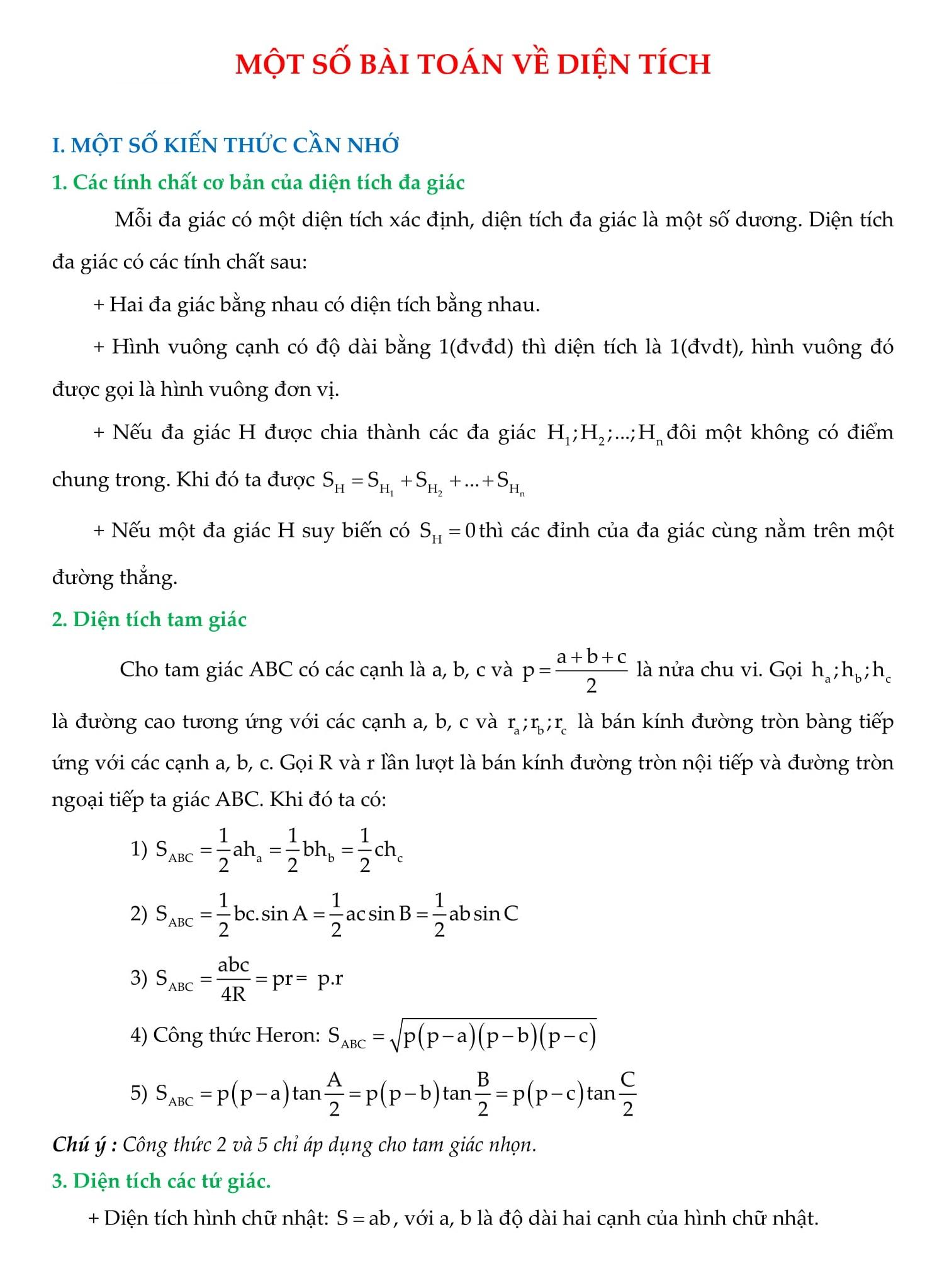 Tổng hợp bài tập về diện tích trong đề thi Toán 9