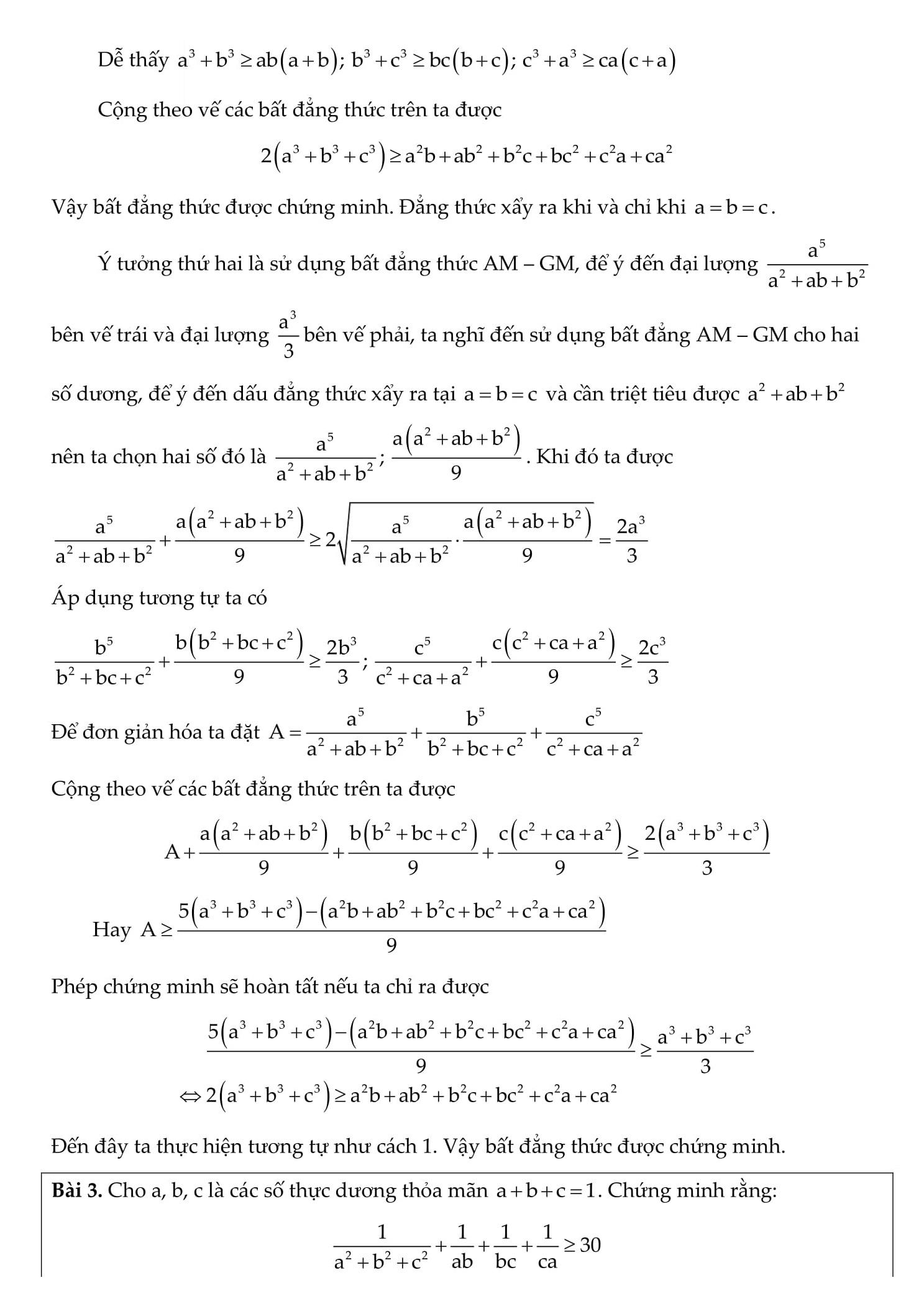 Tổng hợp các bài toán bất đẳng thức cơ bản và nâng cao