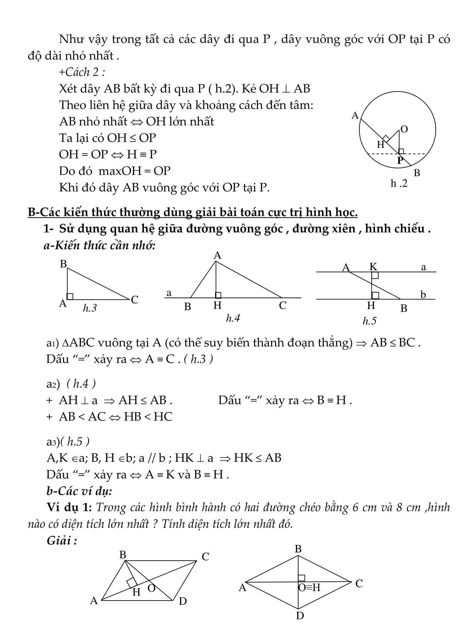 Chuyên đề Toán 9: Cực trị hình học