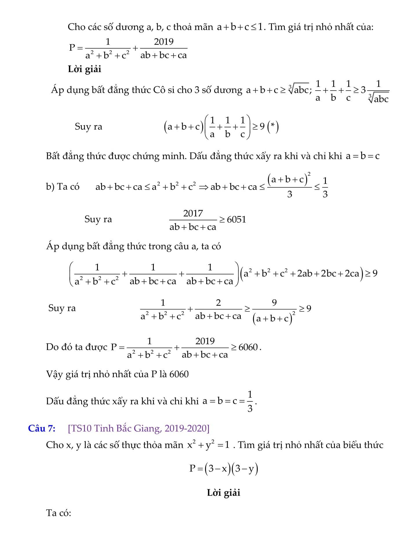 Chuyên đề: Tìm GTLN và GTNN ôn thi vào 10