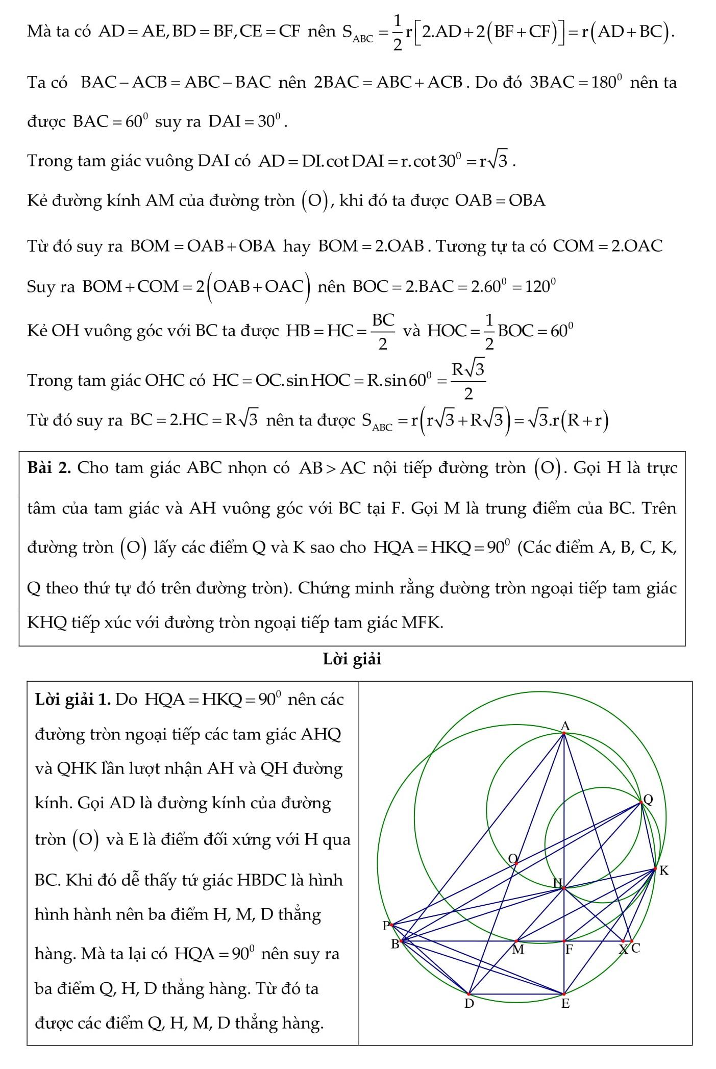 Tổng hợp những bài tập Hình Học Toán 9 thường có trong đề thi