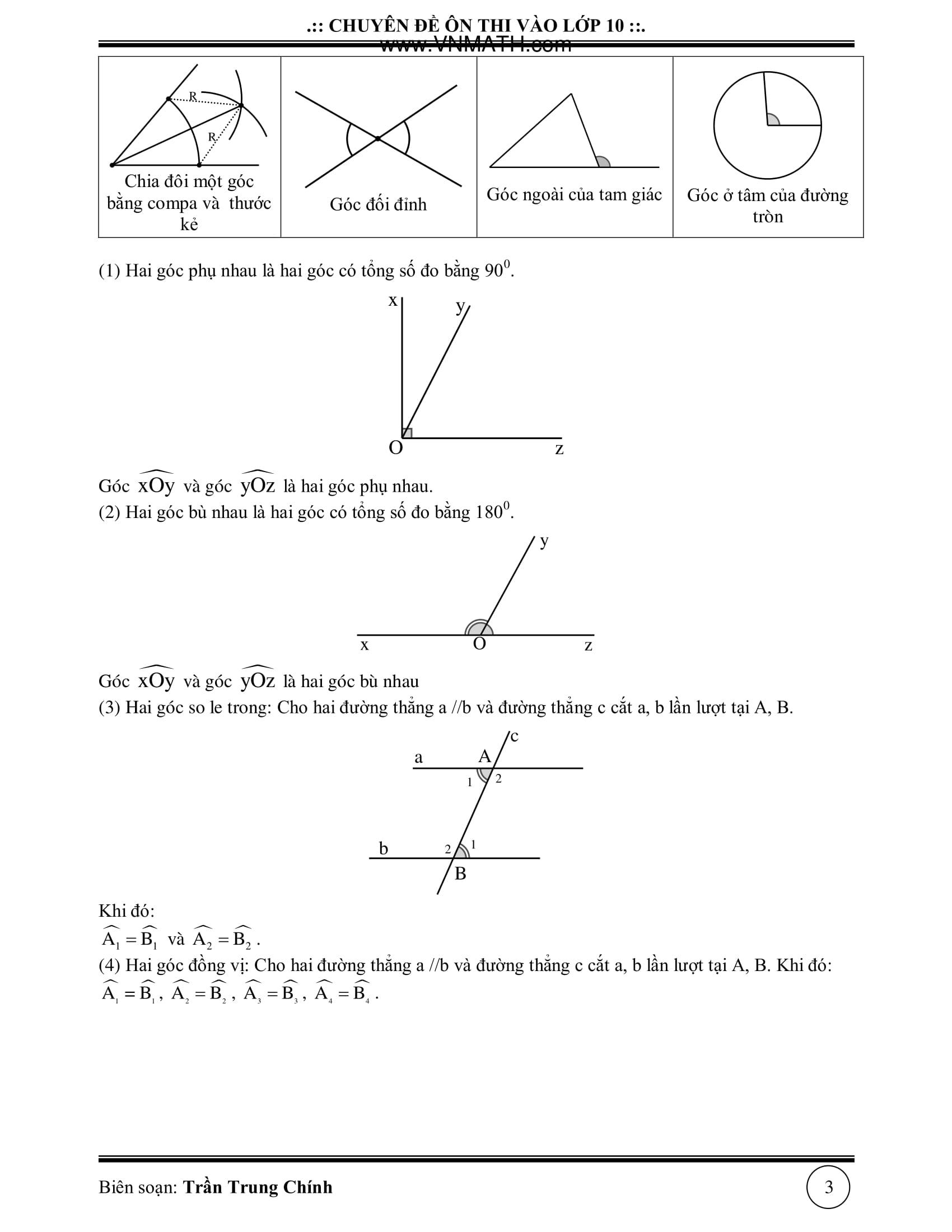 Đề cương Toán 9 hình học cả năm được tổng hợp
