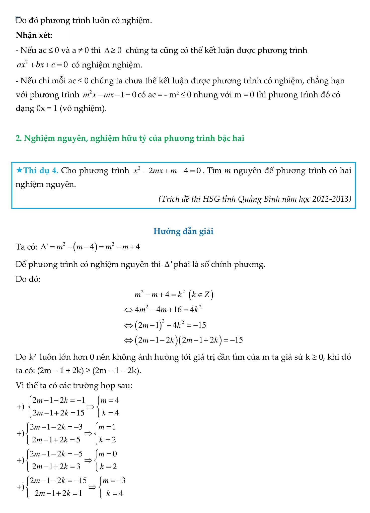 Chuyên đề Phương trình bậc hai - Toán 9