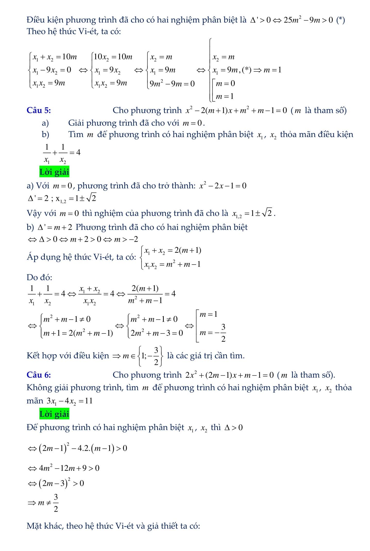 Phương trình chứa tham số trong phương trình bậc 2