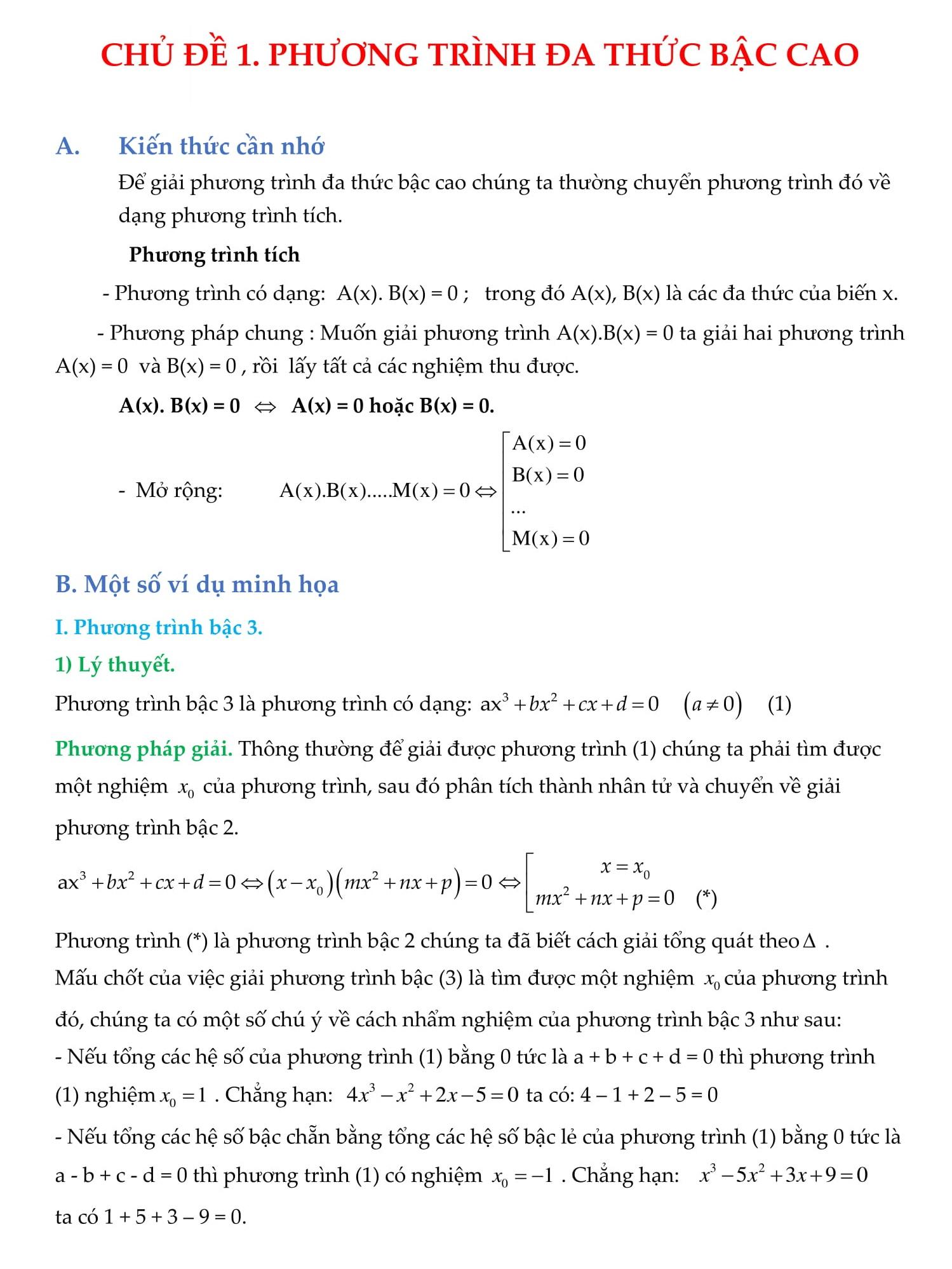 Chuyên đề Phương trình Đại số Toán 9