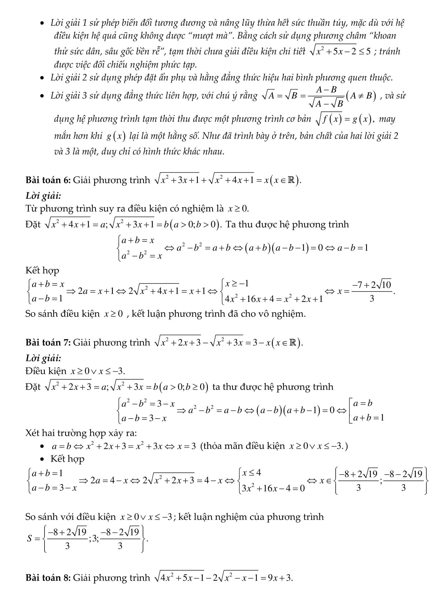 Chuyên đề toán 9: Phương trình vô tỉ