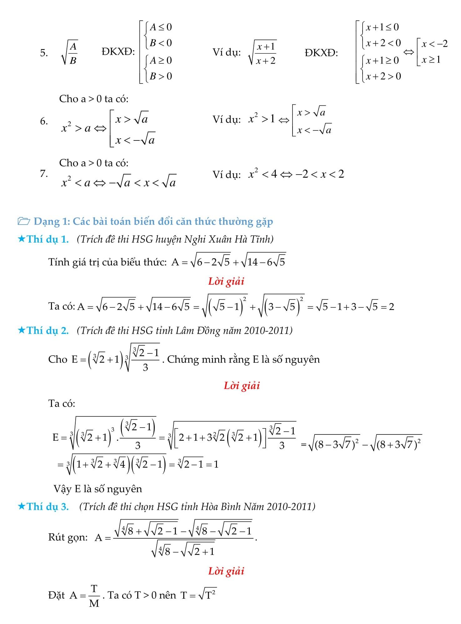 Rút gọn căn thức bậc hai và những bài toán liên quan