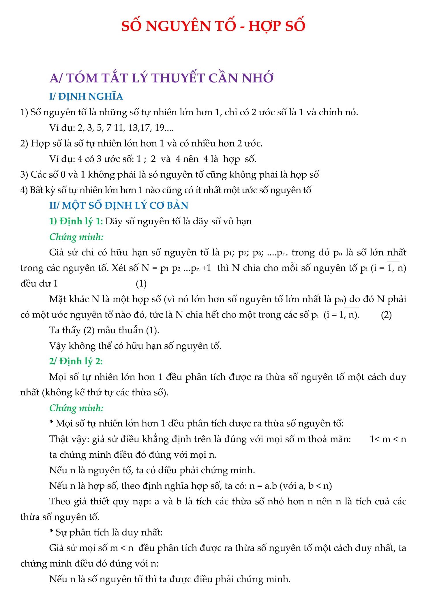 Chuyên đề Số nguyên tố và hợp số - Toán 9