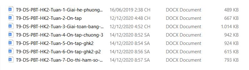 Phiếu bài tập HK2 Toán 9 phần Đại số từ tuần 1 - tuần 7
