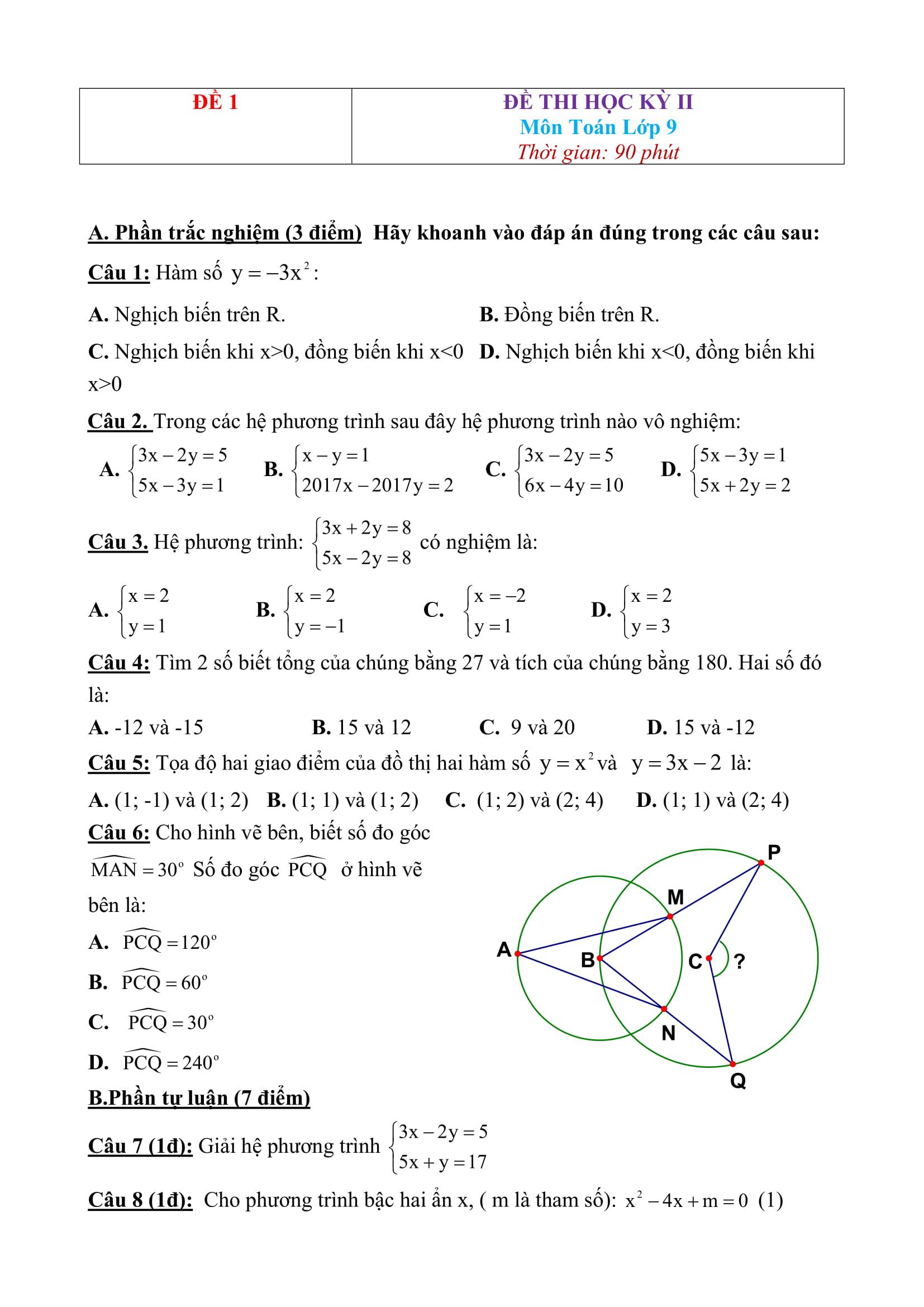 25 Đề thi HK2 toán 9 - Bản word có giải