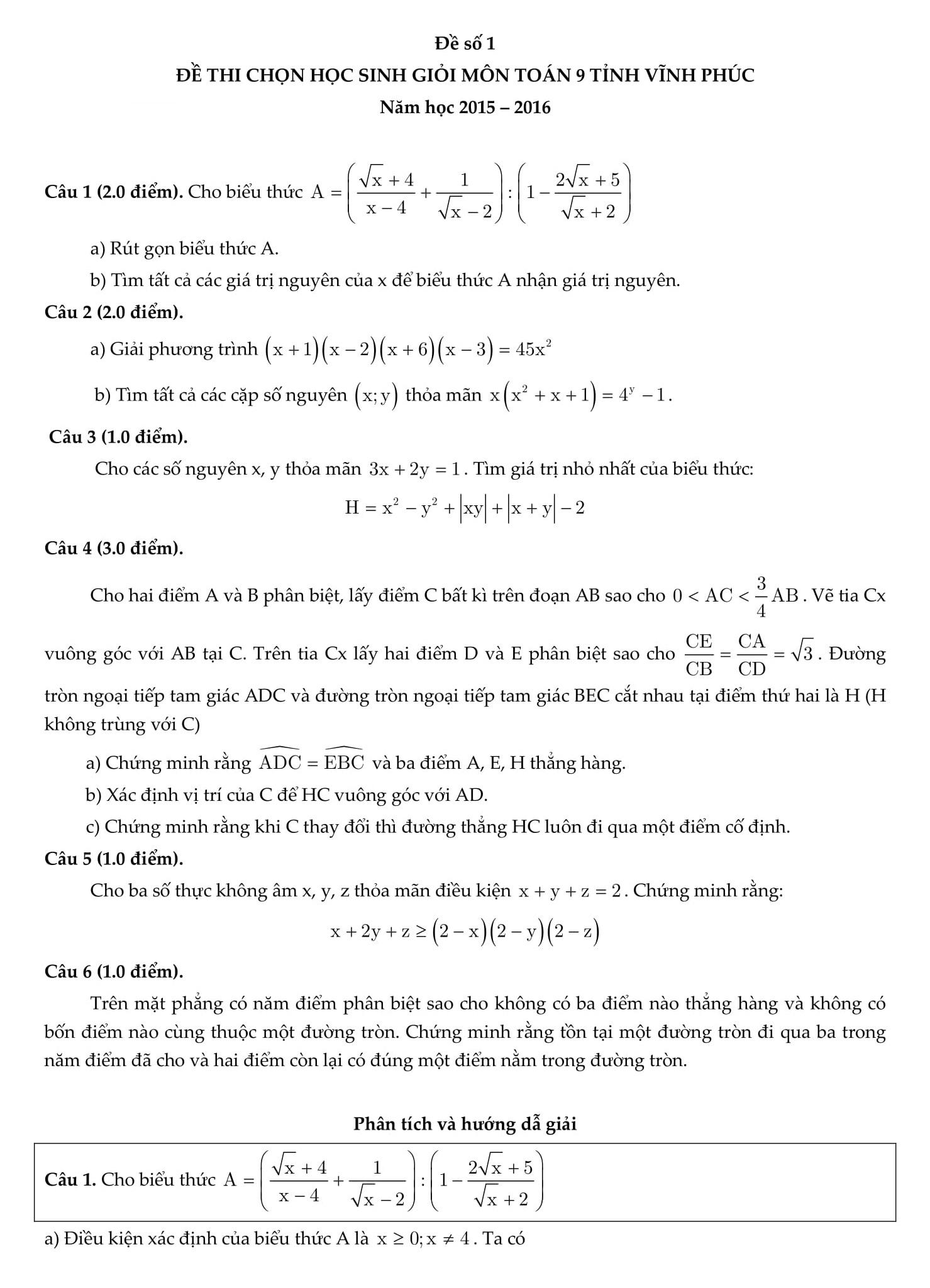 Phân tích và hướng dẫn giải đề thi HSG toán 9