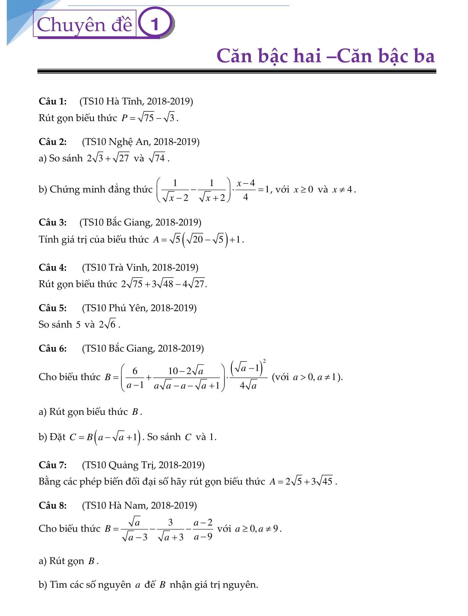 Bài tập trọng tâm trong HK1 Toán Đại số 9