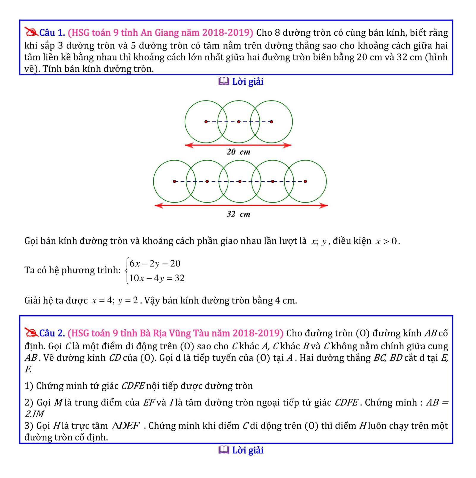 130 Bài tập Hình học ôn thi học sinh Toán 9 qua các năm