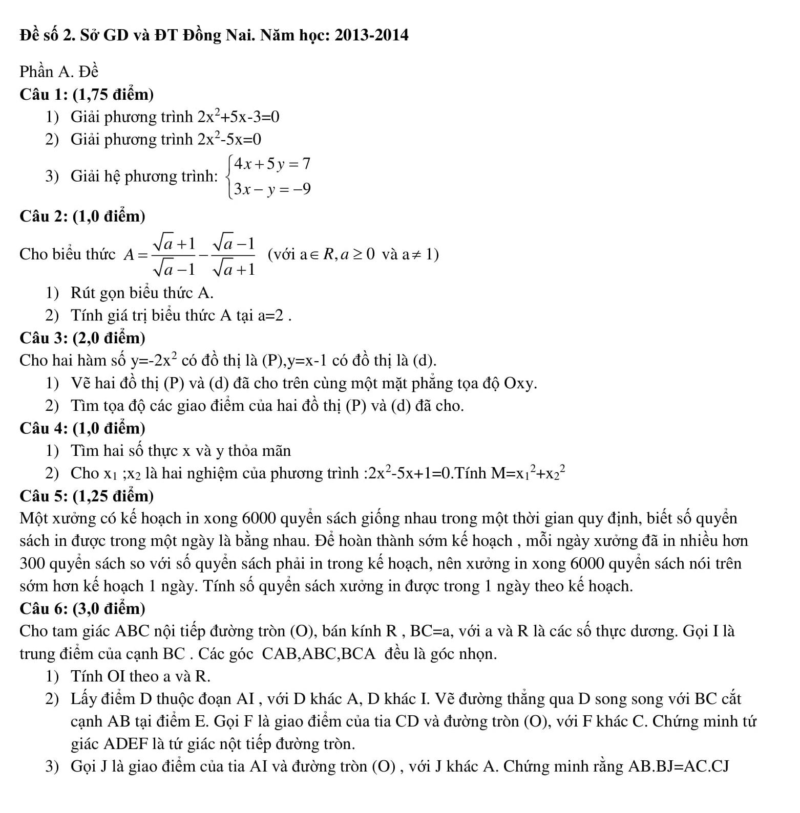 95 Đề thi Toán 9 vào 10 có đáp án - được tổng hợp qua các năm