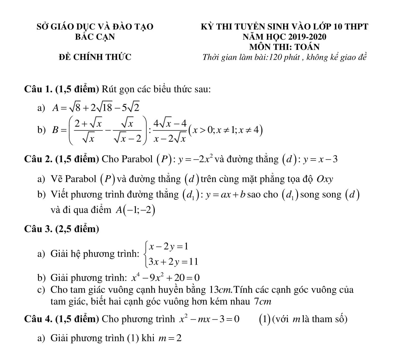 [PDF] 63 Đề thi Toán 9 vào 10 phần 2 (năm 2020) có lời giải