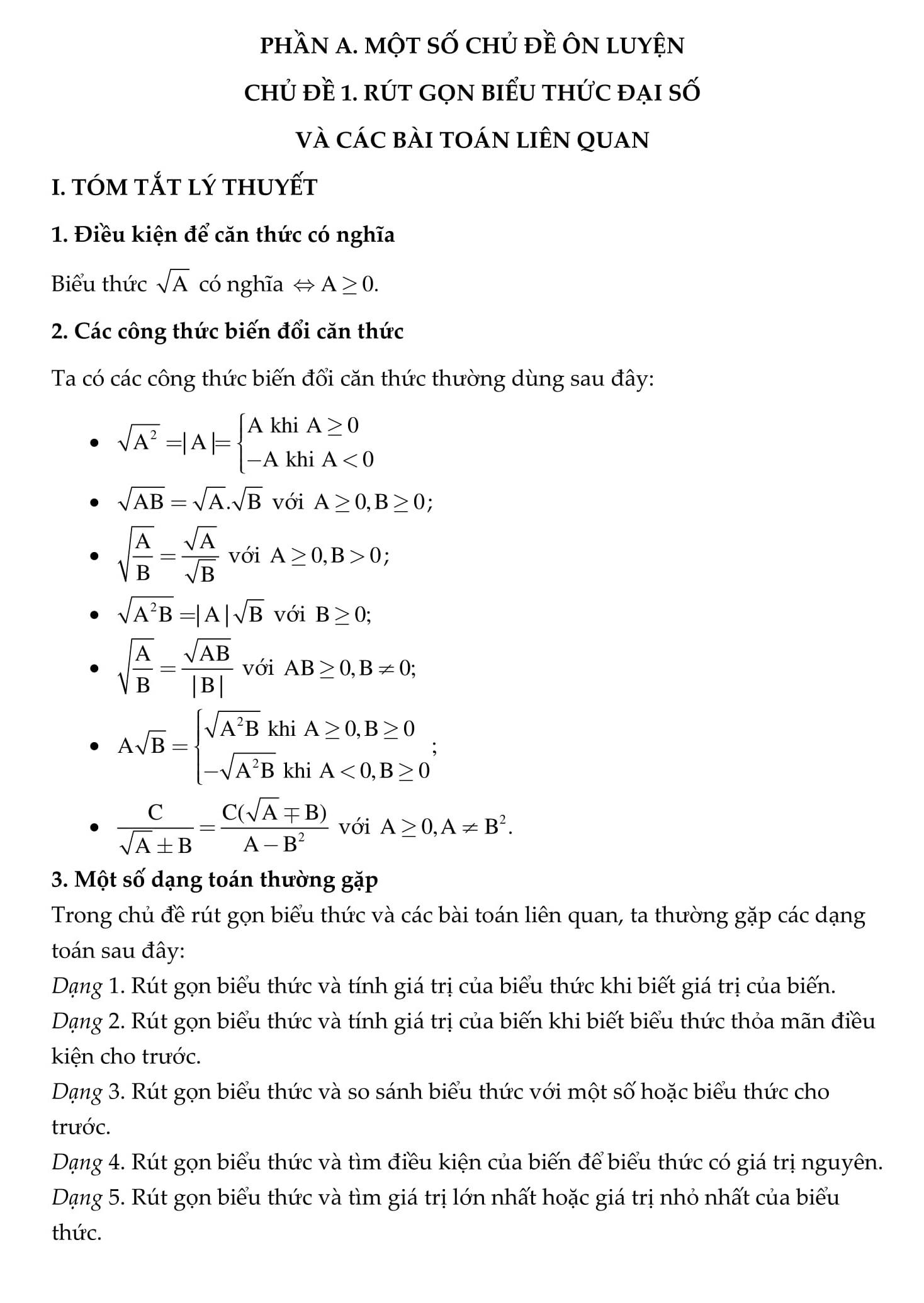 Trọng tâm kiến thức Toán 9 vào 10 - Hướng dẫn chi tiết