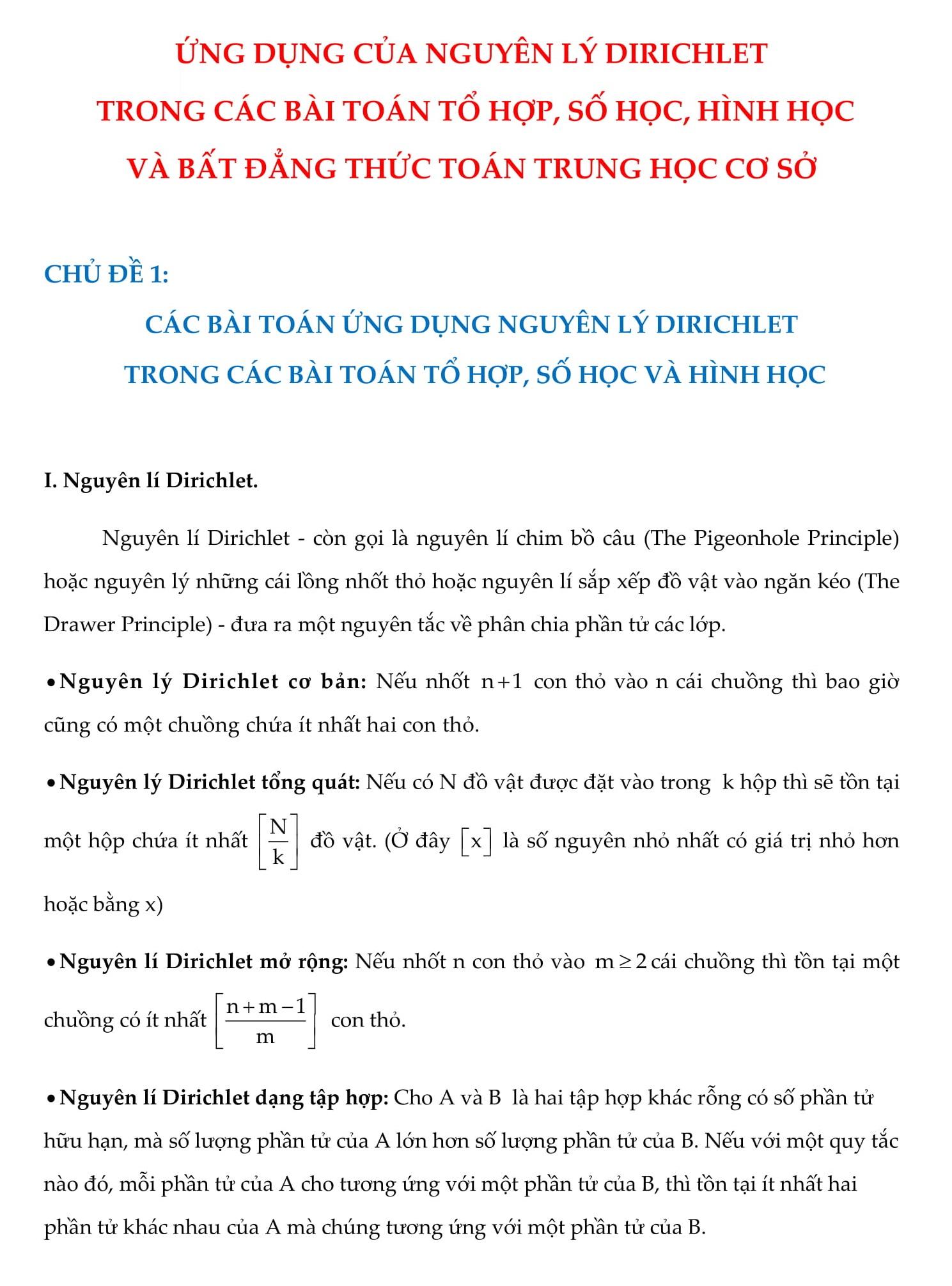 Ứng dụng giải bài tập bằng nguyên lí Dirichlet - Ôn thi vào 10