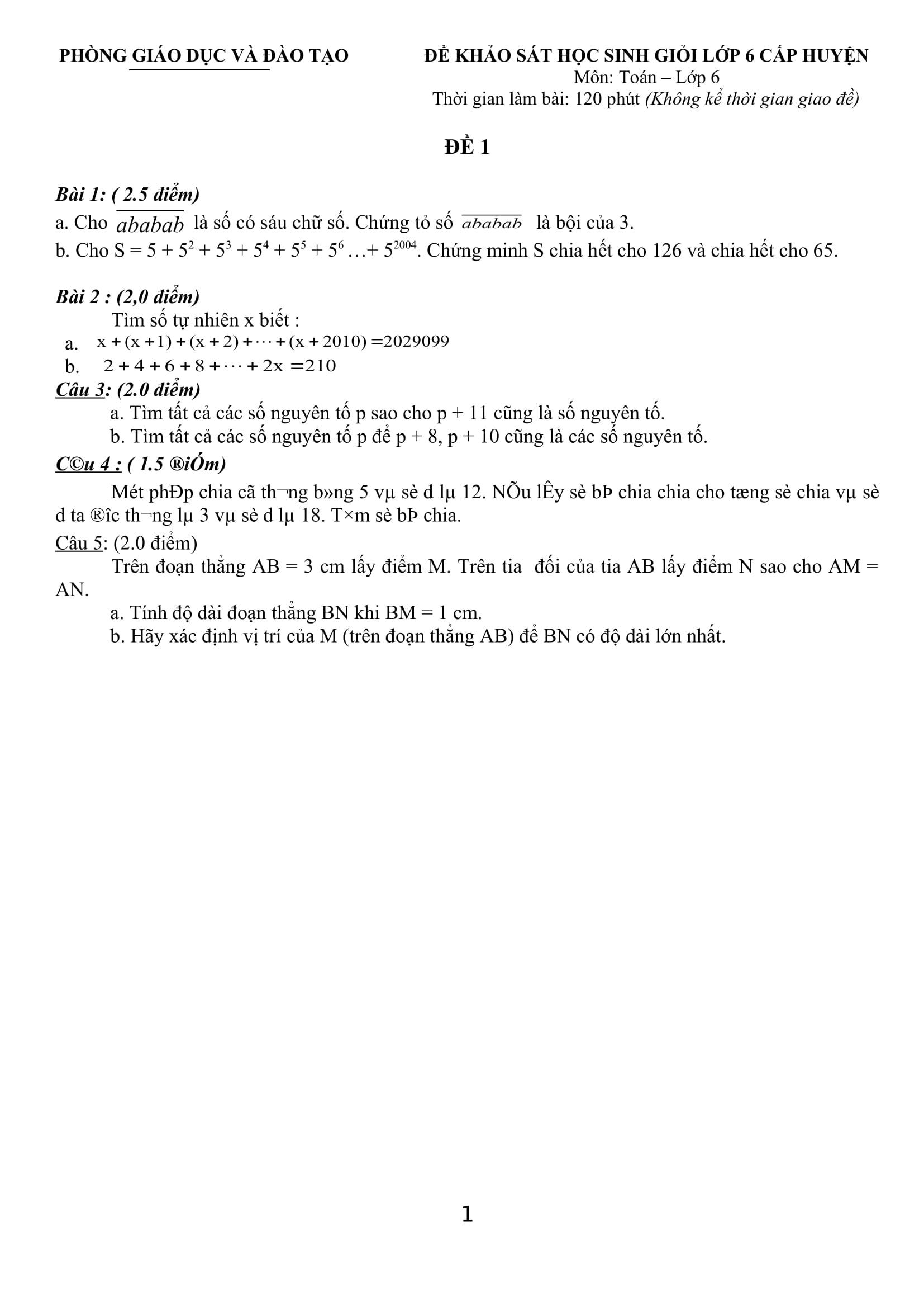 20 Đề thi HSG cấp huyện toán 6 có lời giải