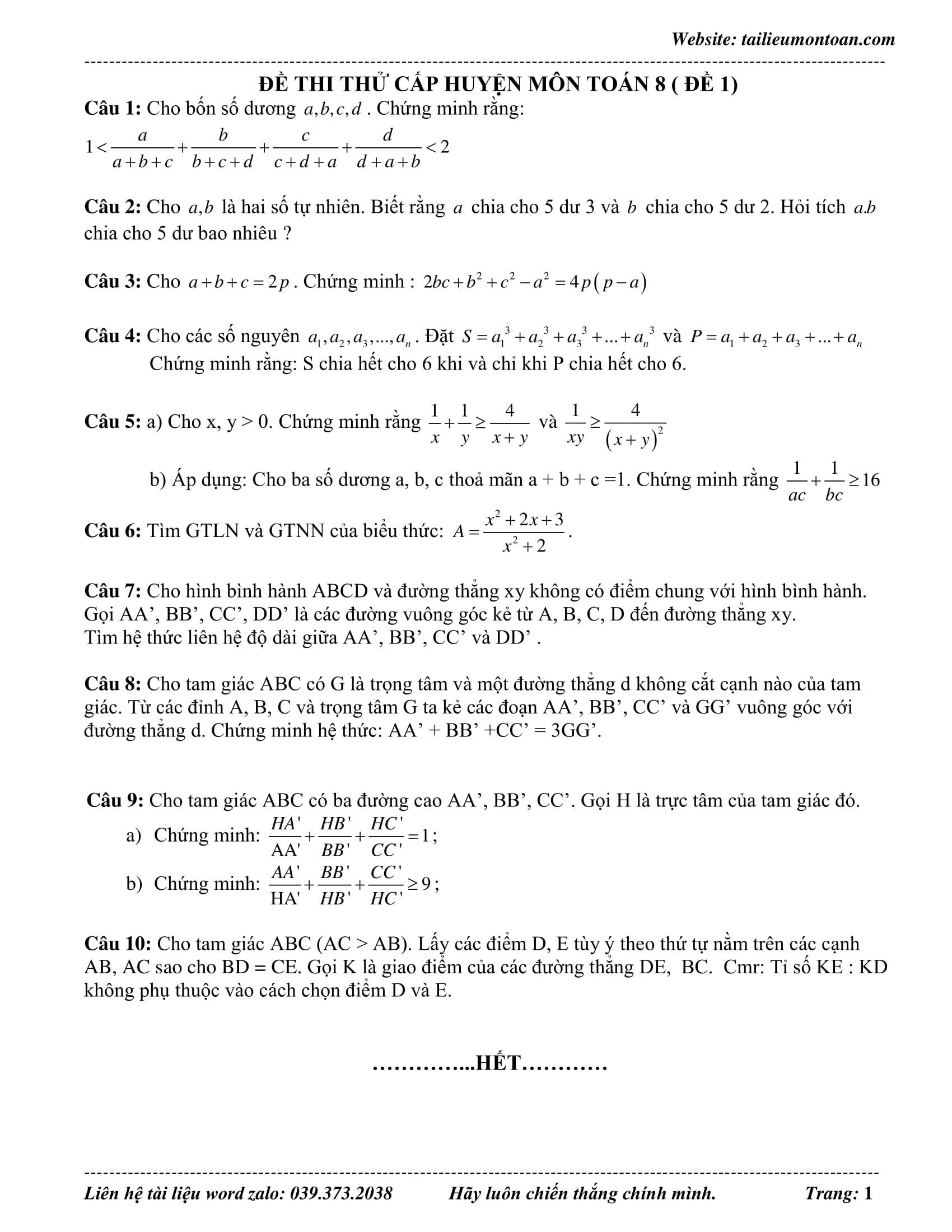 Tổng hợp Đề thi HSG toán 8 năm 2019 - 2020 có lời giải