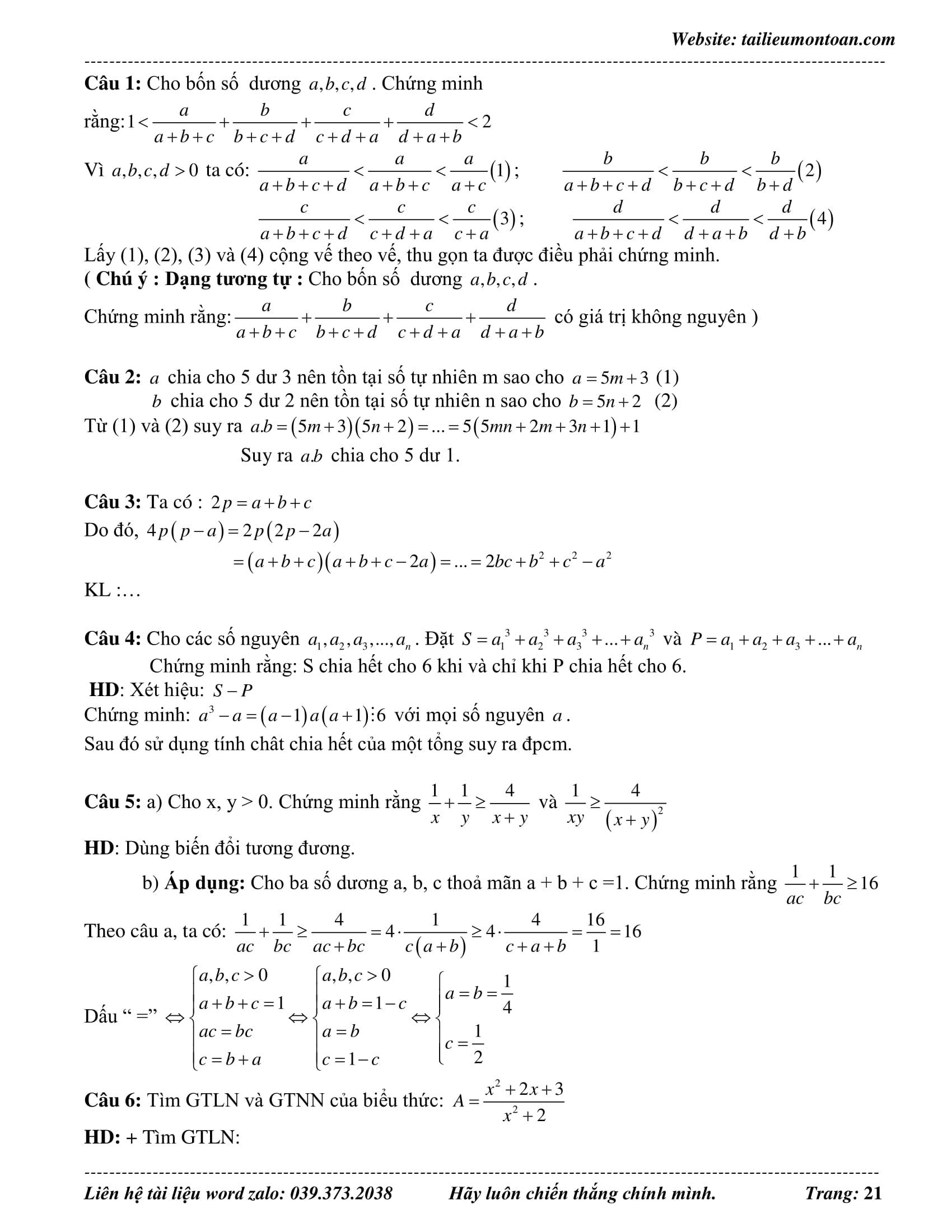 Đề thi HSG toán 8 năm 2019 - 2020 phần 2