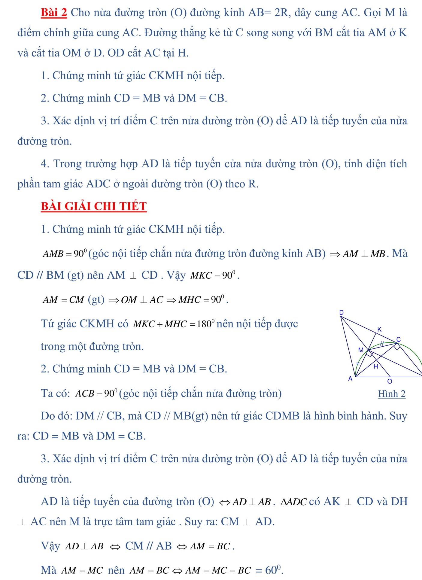 Đề cương ôn tập Toán 9 vào 10 - Hình học