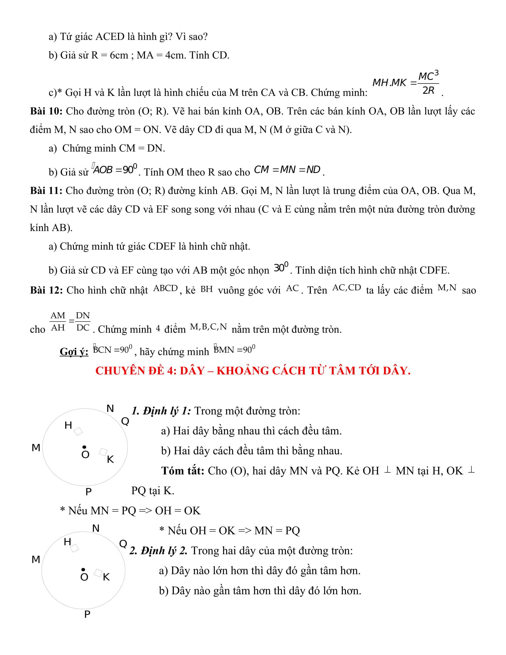 Tất cả bài tập hình tròn - Toán hình 9