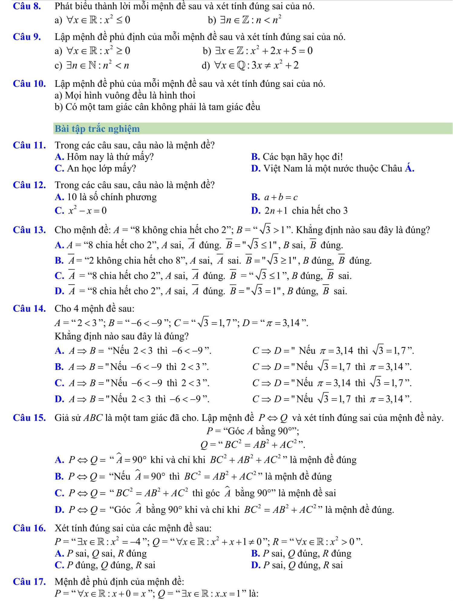 Các bài tập về mệnh đề - Đại số 10 chương 1
